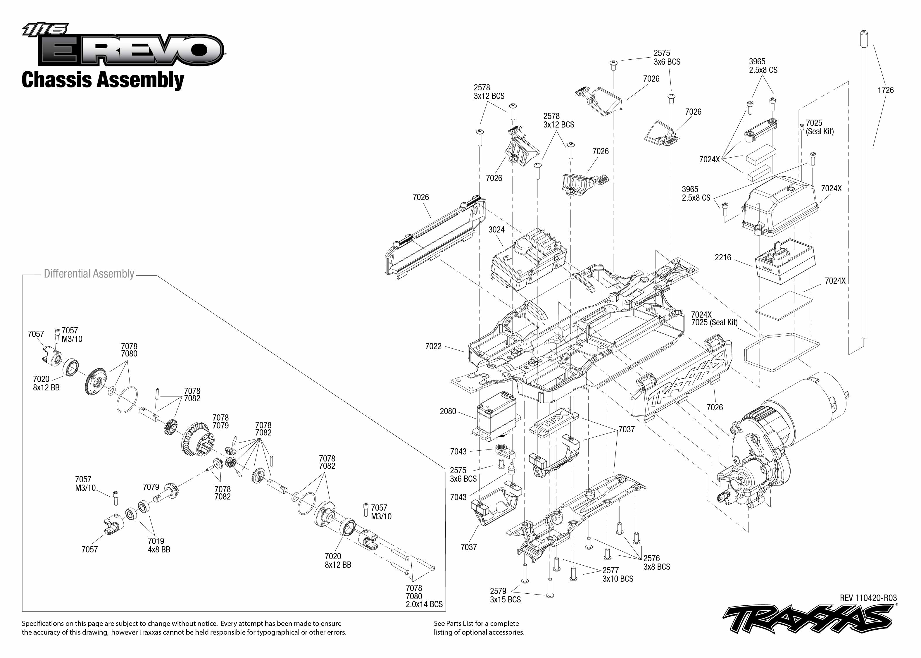 7105 Front Exploded View 116 E Revo Brushed W Titan 550 12T Motor Hobbydel also 1 10 Traxxas Slash 4x4 Diagram as well St prod also Traxxas 6518 Wiring Diagram as well Slash 4x4 Parts Diagram. on traxxas 1 16 e revo parts diagram