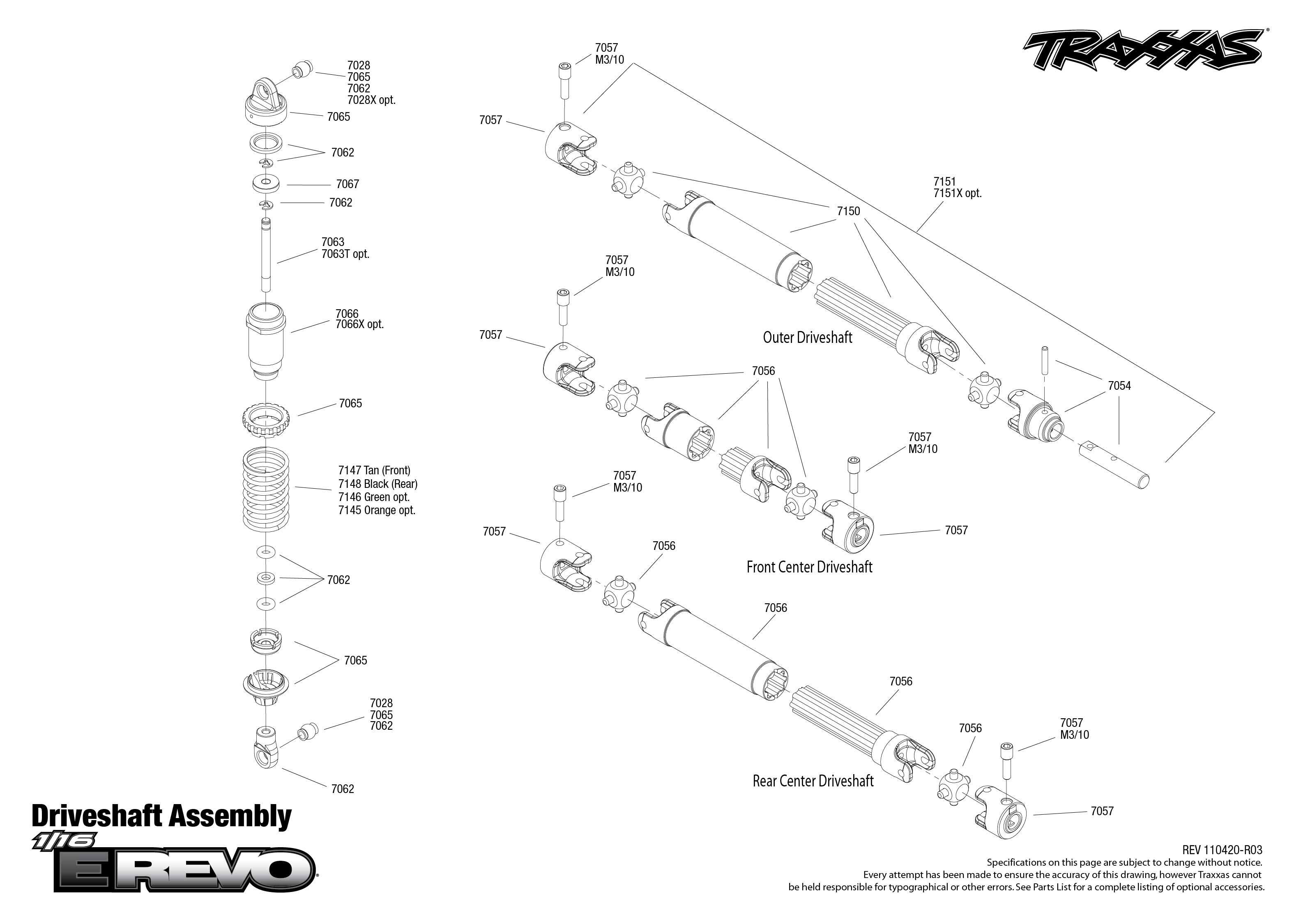 7105 Driveshafts Exploded View (1/16 E-Revo Brushed, w/ Titan 550 ...