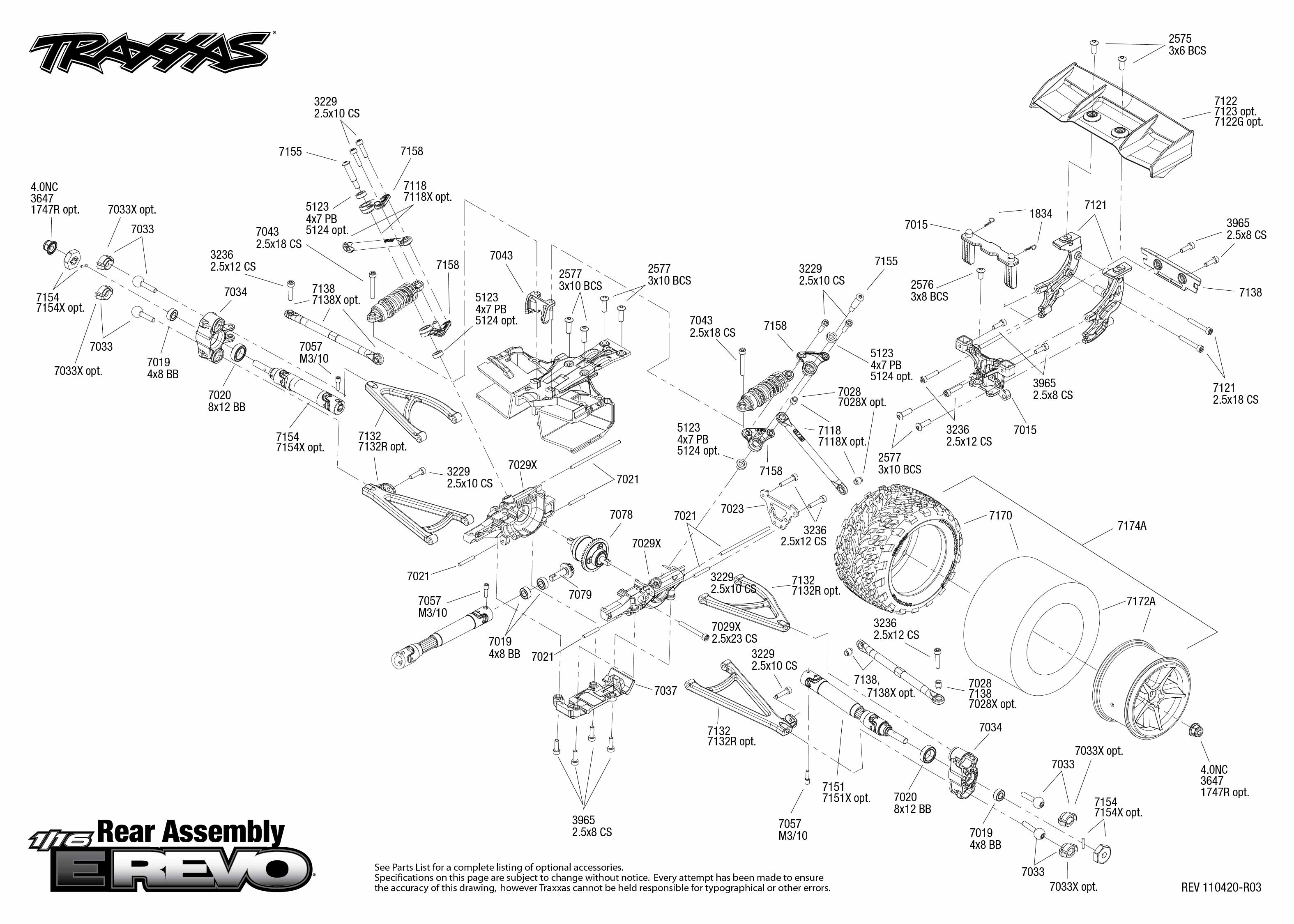 7105 Rear Exploded View (1/16 E-Revo Brushed, w/ Titan 550 12T ...