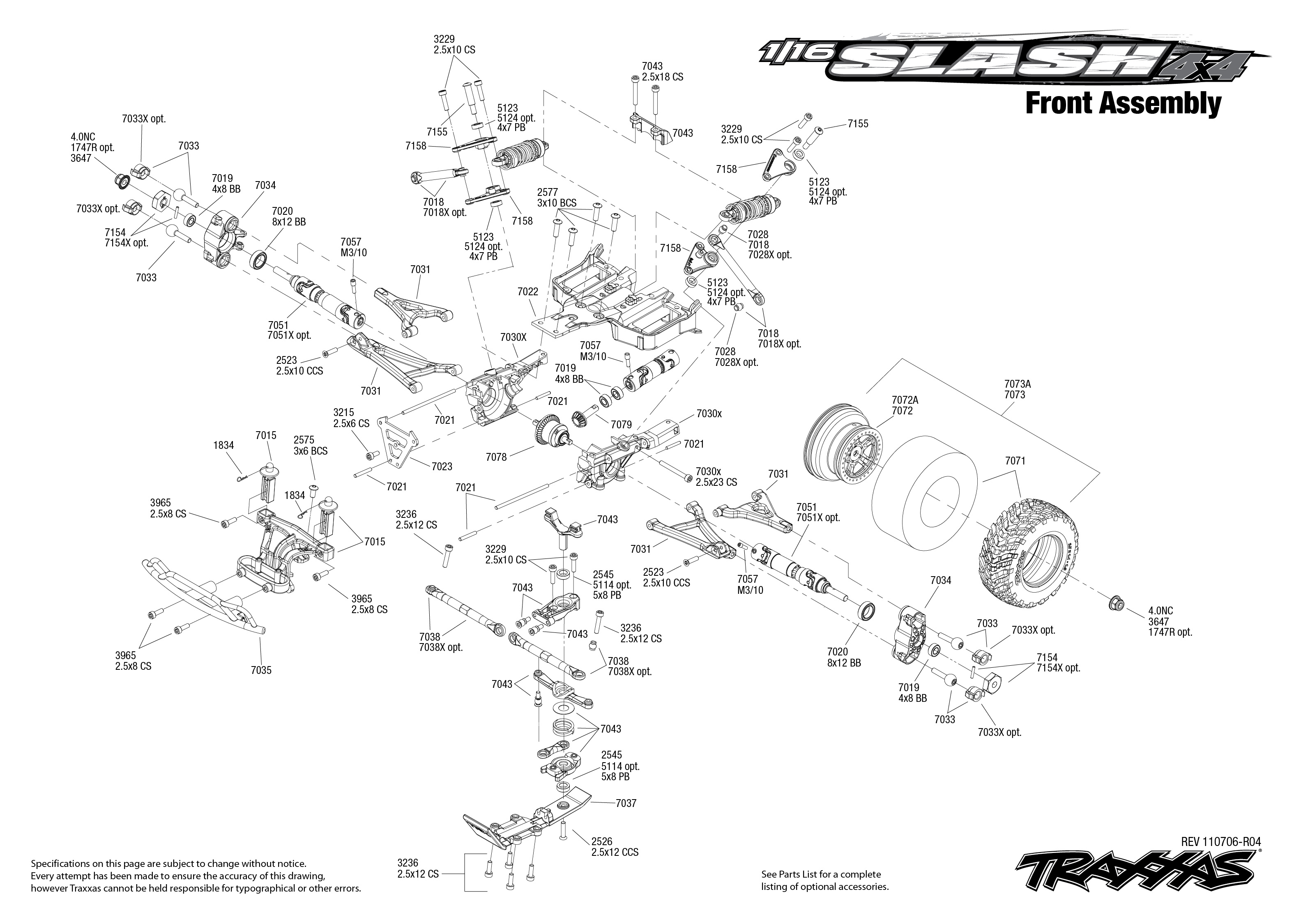 7005 Front Exploded View 1 16 Slash 4x4 Traxxas