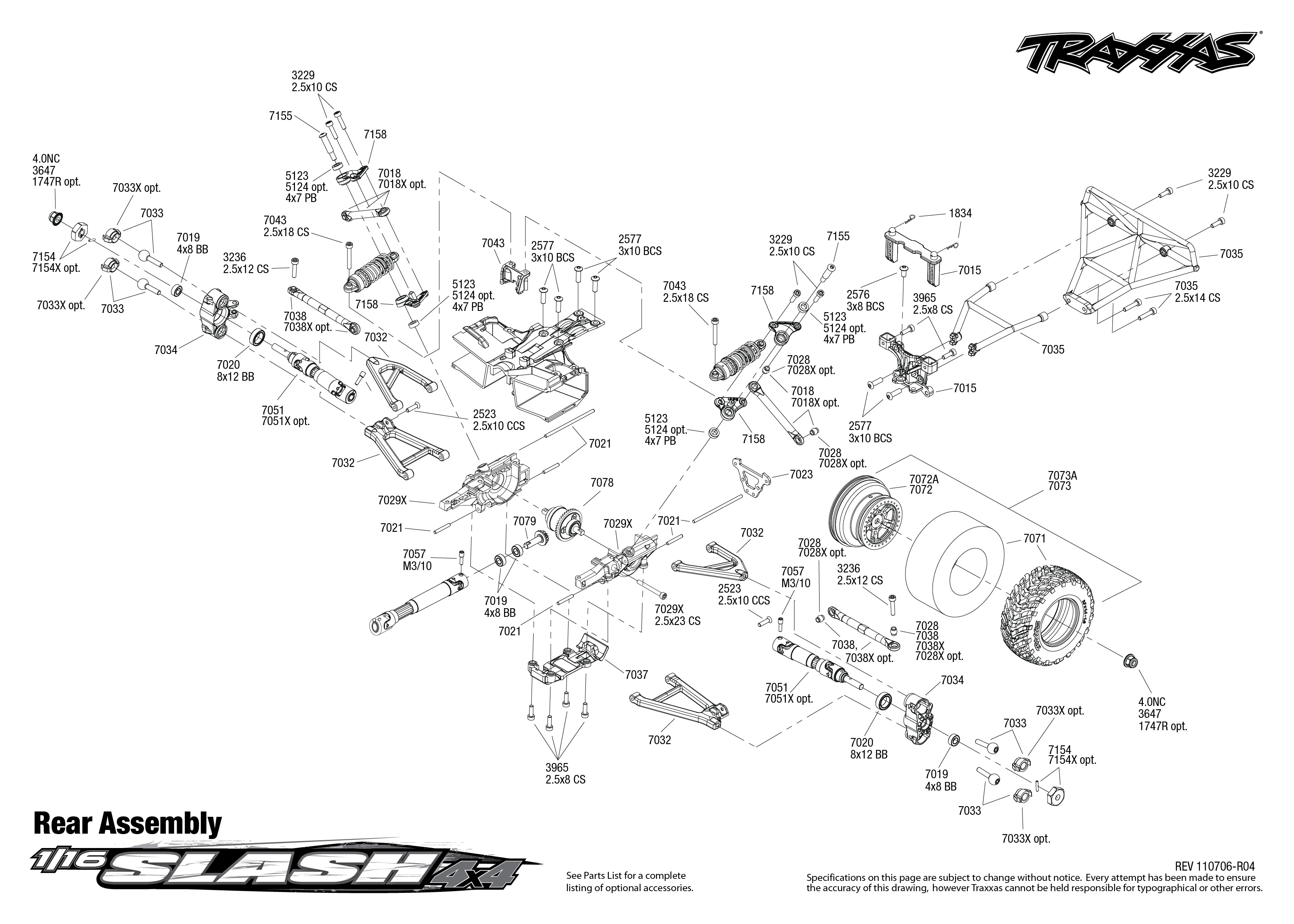 7005 Rear Exploded View  1  16 Slash 4x4