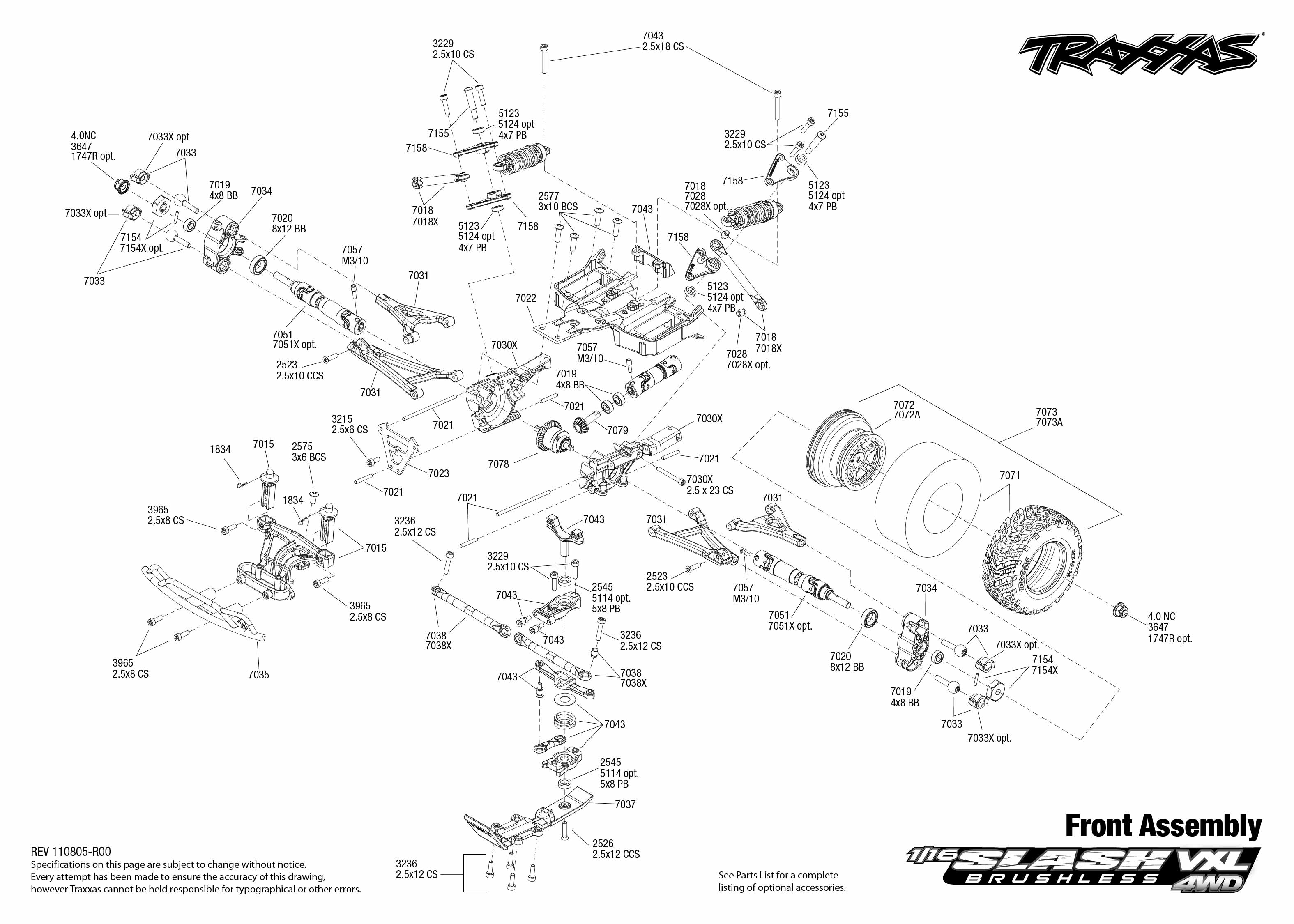 7009 Front Exploded View (1/16 Slash 4X4 VXL) | Traxxas