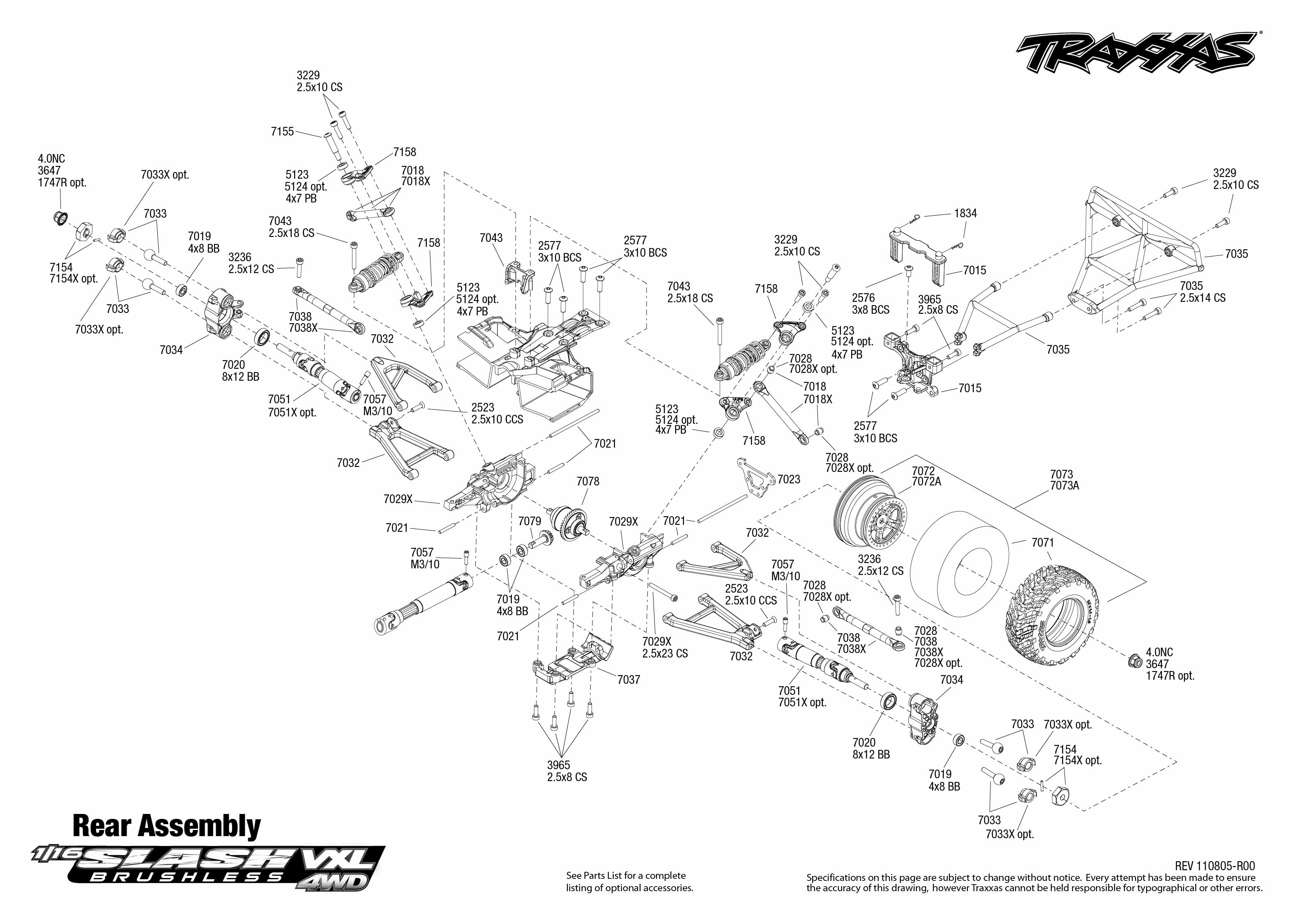 7009 rear exploded view 116 slash 4x4 vxl traxxas use magnifier buttons to zoom exploded view click part numbers for details or to add to cart pooptronica Images