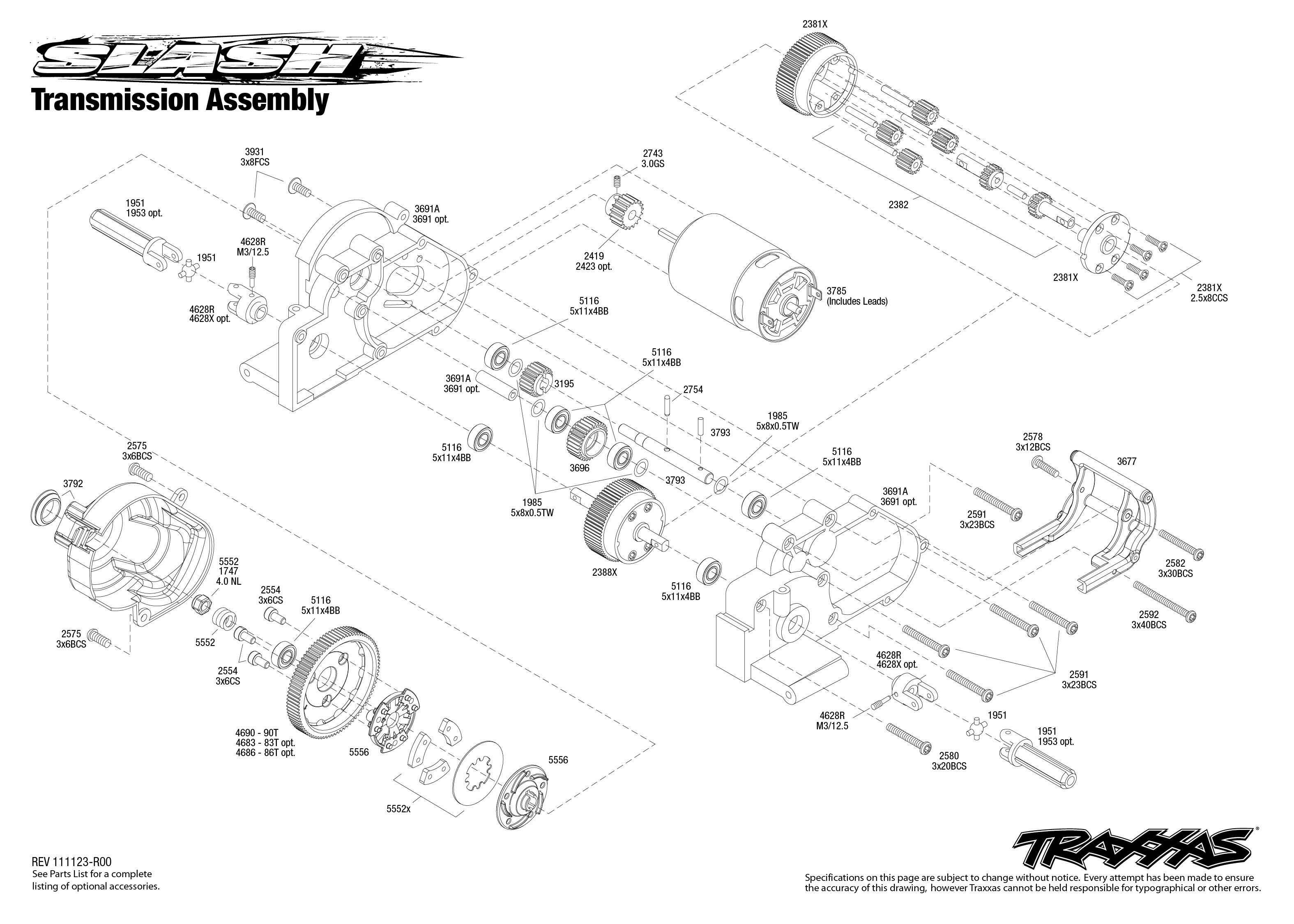 5803 transmission exploded view  slash  with tqi 2 4ghz radio  traxxas traxxas slash 2wd parts exploded view traxxas slash 2wd parts list