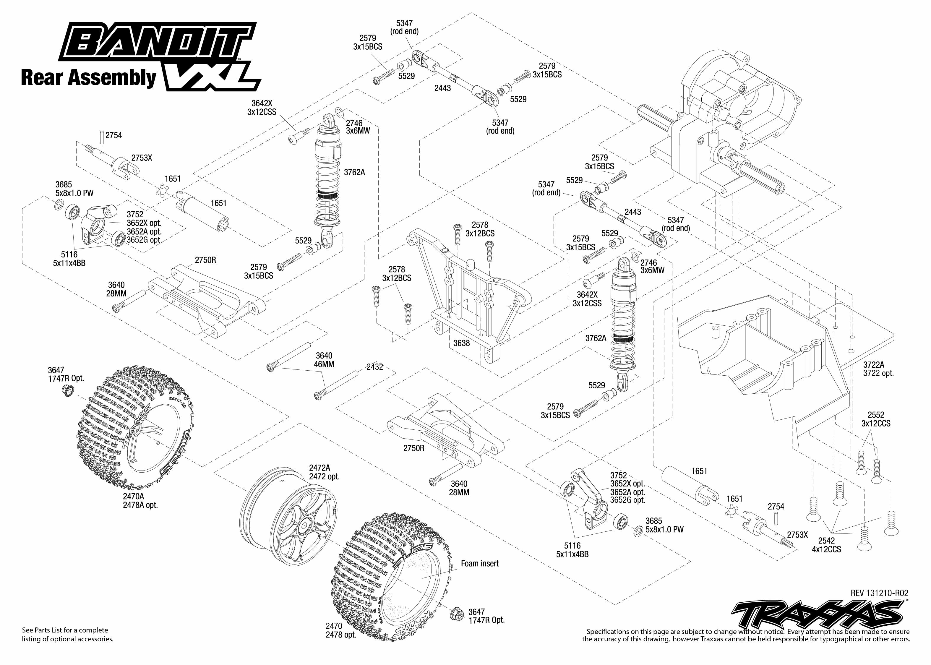 2407 rear exploded view bandit vxl traxxas rh traxxas com traxxas jato parts diagram traxxas parts diagram rustler