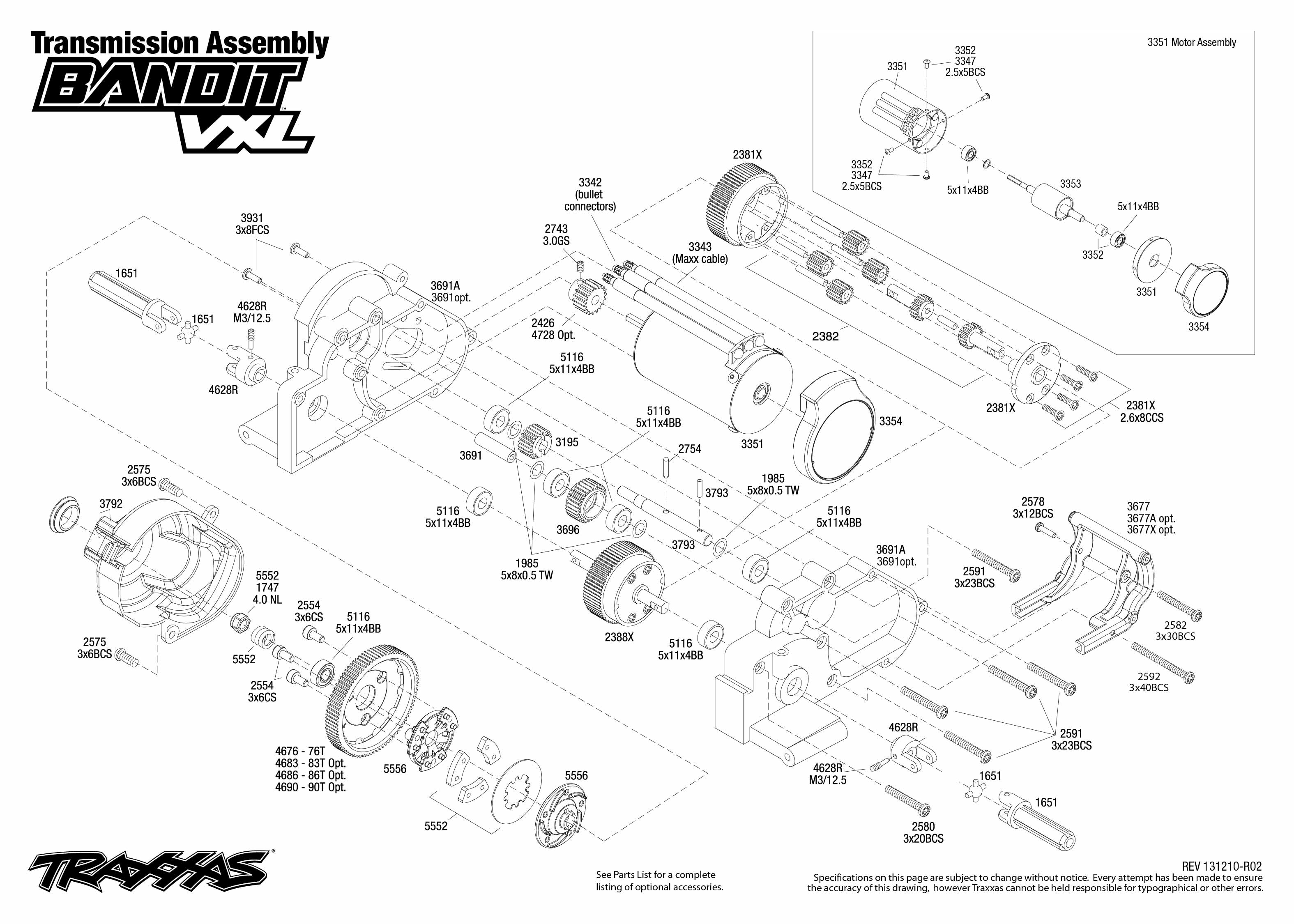 2407 transmission exploded view bandit vxl traxxas rh traxxas com traxxas parts diagram rustler traxxas parts diagram rustler