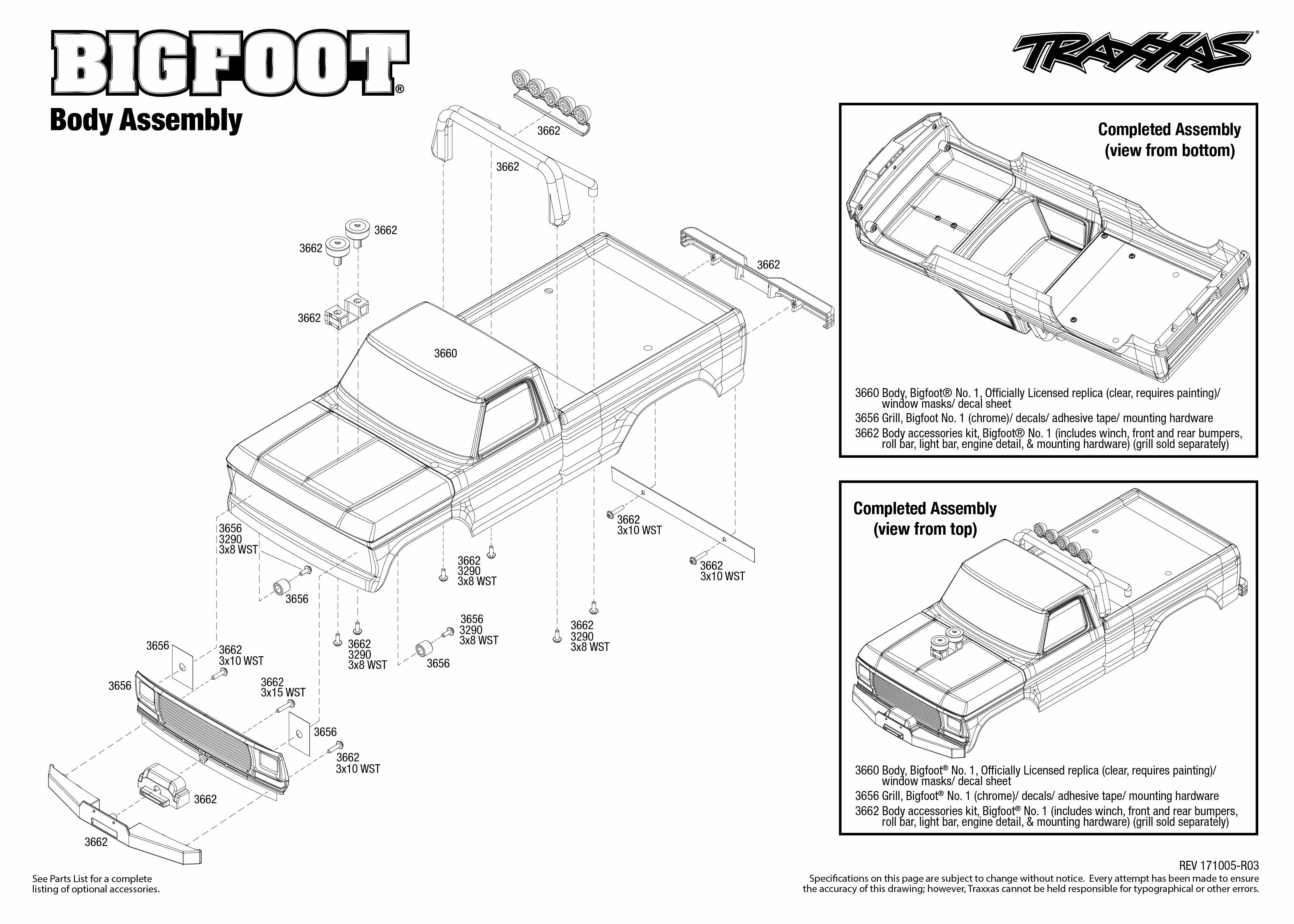 Traxxas Bigfoot Diagram Excellent Electrical Wiring House Stampede Vxl Parts Monster Jam Replicas 3602 No 1 36034 Body Assembly Exploded View Rh Com Bandit