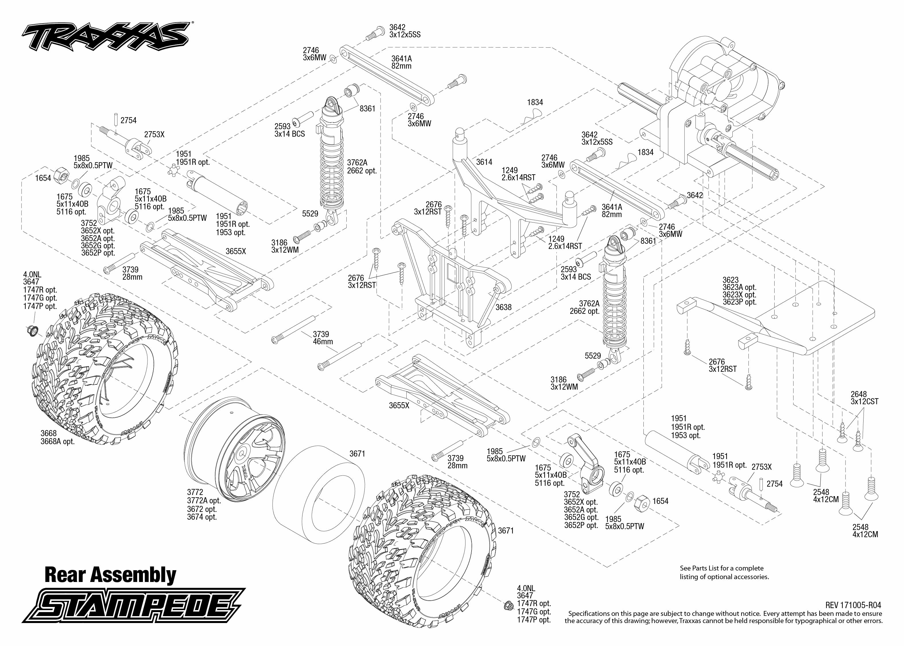 stampede 36054 1 rear assembly exploded view traxxas rh traxxas com traxxas stampede 2x4 parts diagram traxxas stampede 2x4 parts diagram
