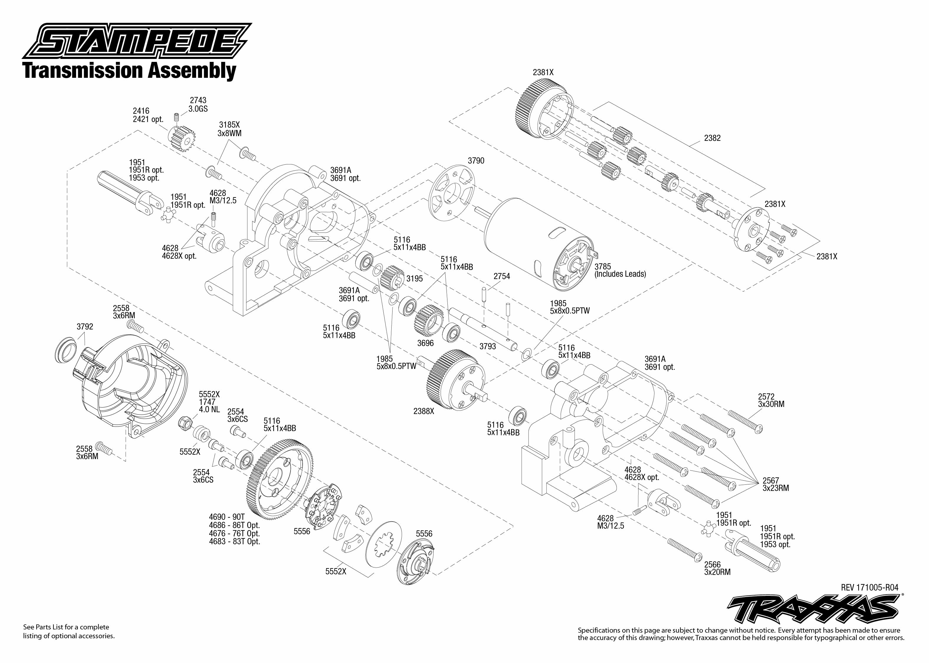 Stampede (36054-1) Transmission Assembly Exploded View | Traxxas