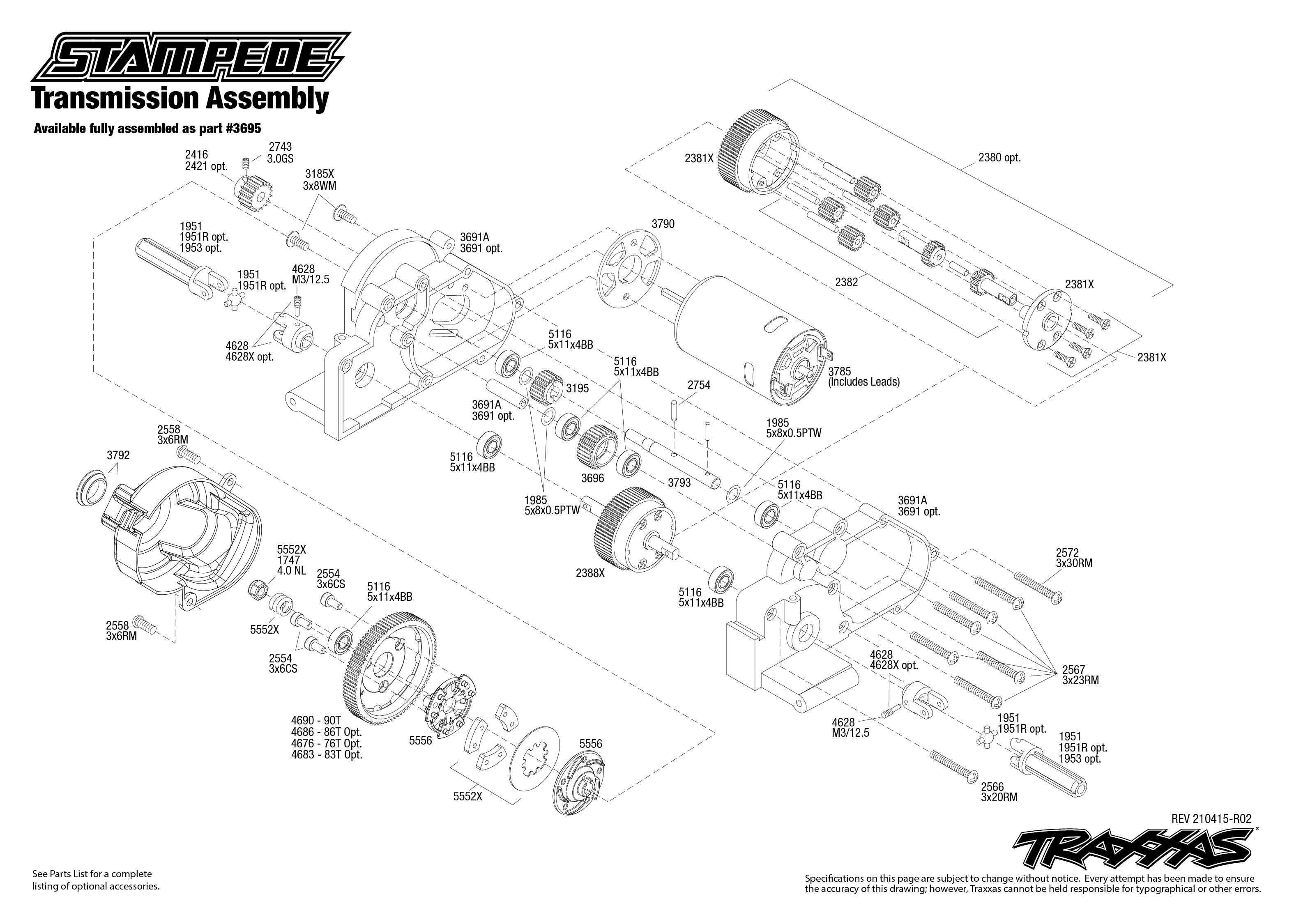 Stampede 2WD Exploded View Parts