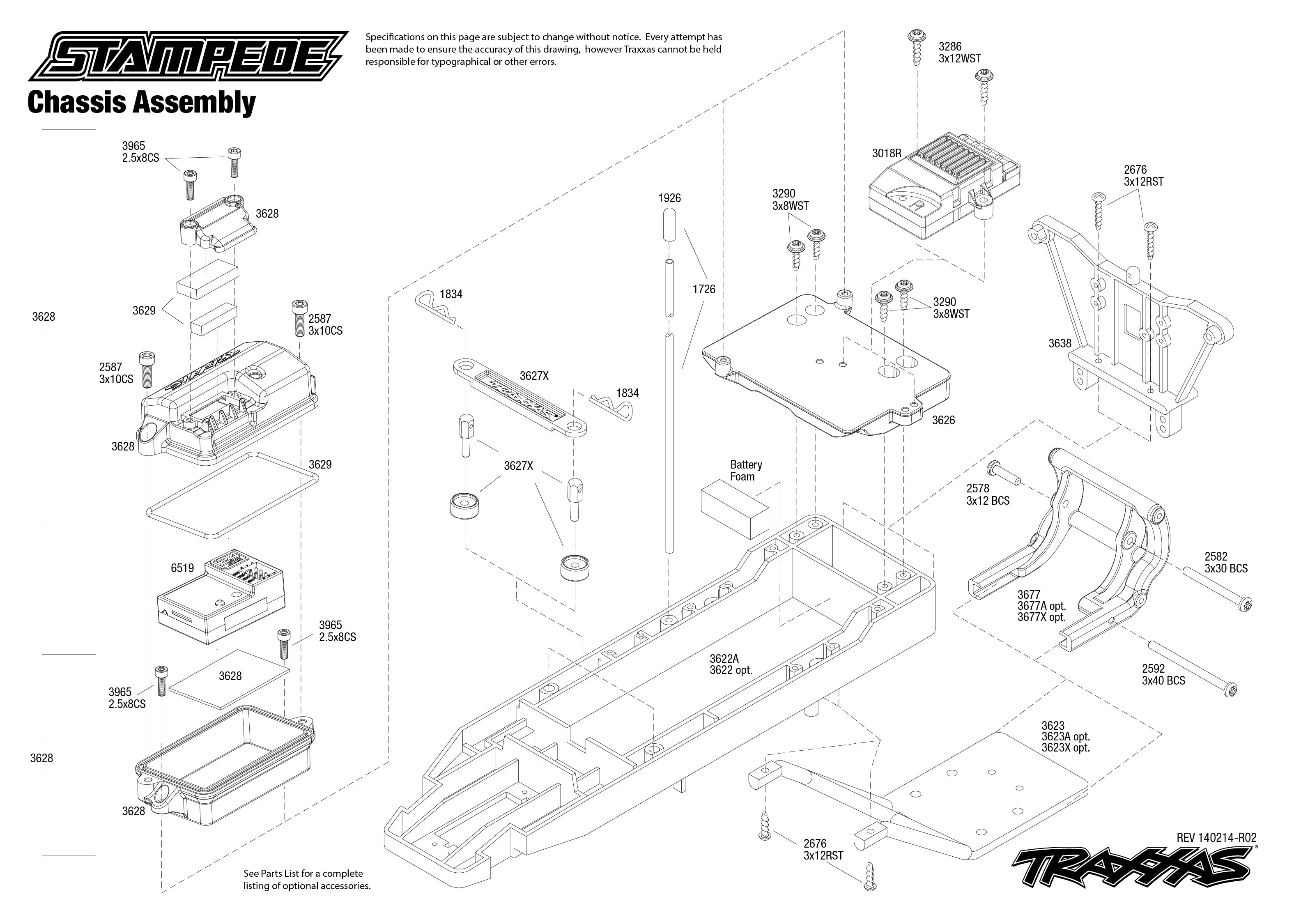 36054_explodedviews_140214_36054 Chassis Assembly stampede (36054) chassis assembly traxxas traxxas tq receiver wiring diagram at alyssarenee.co