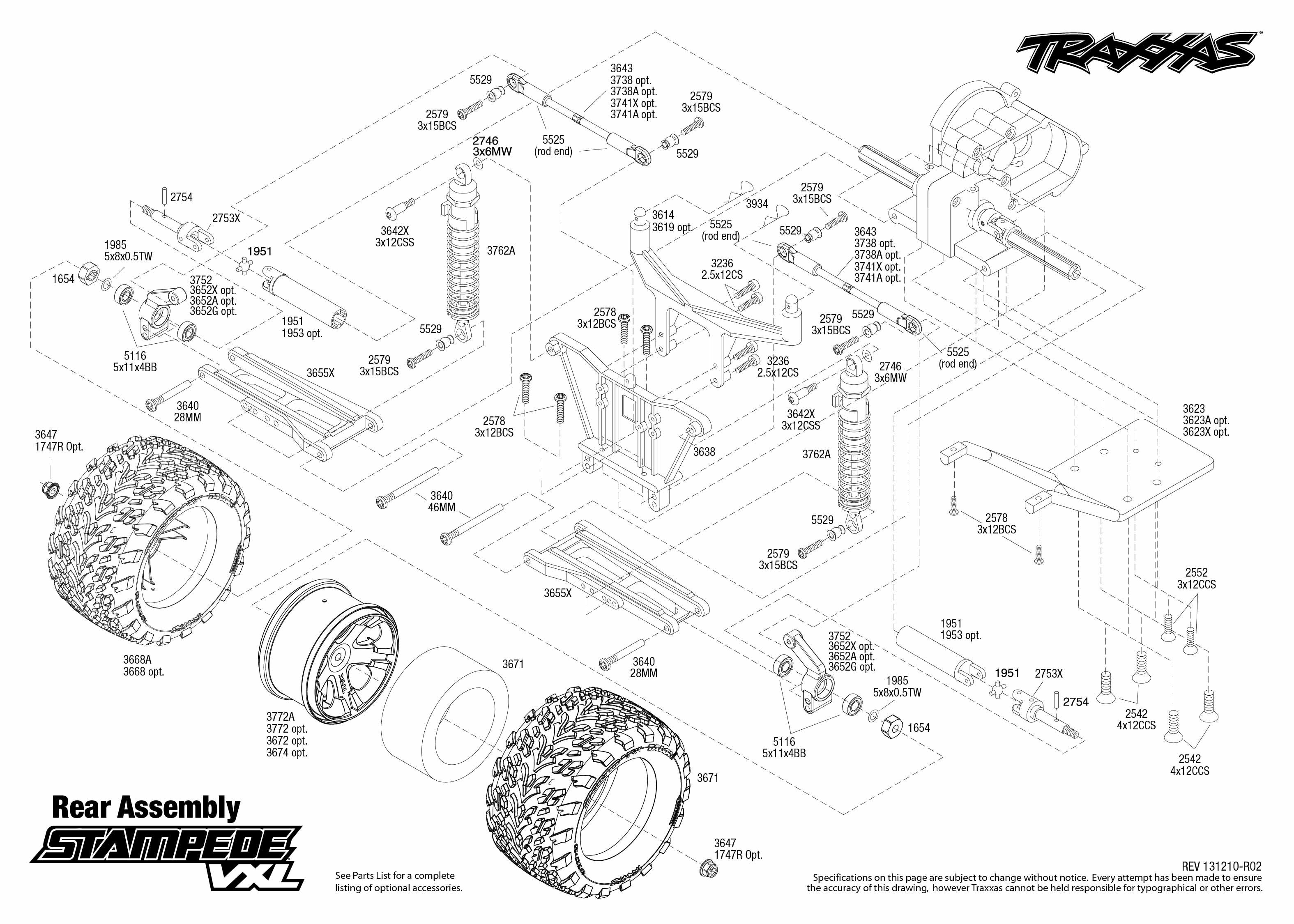 3607 rear exploded view traxxas rh traxxas com traxxas stampede 4x4 vxl parts diagram traxxas stampede parts manual