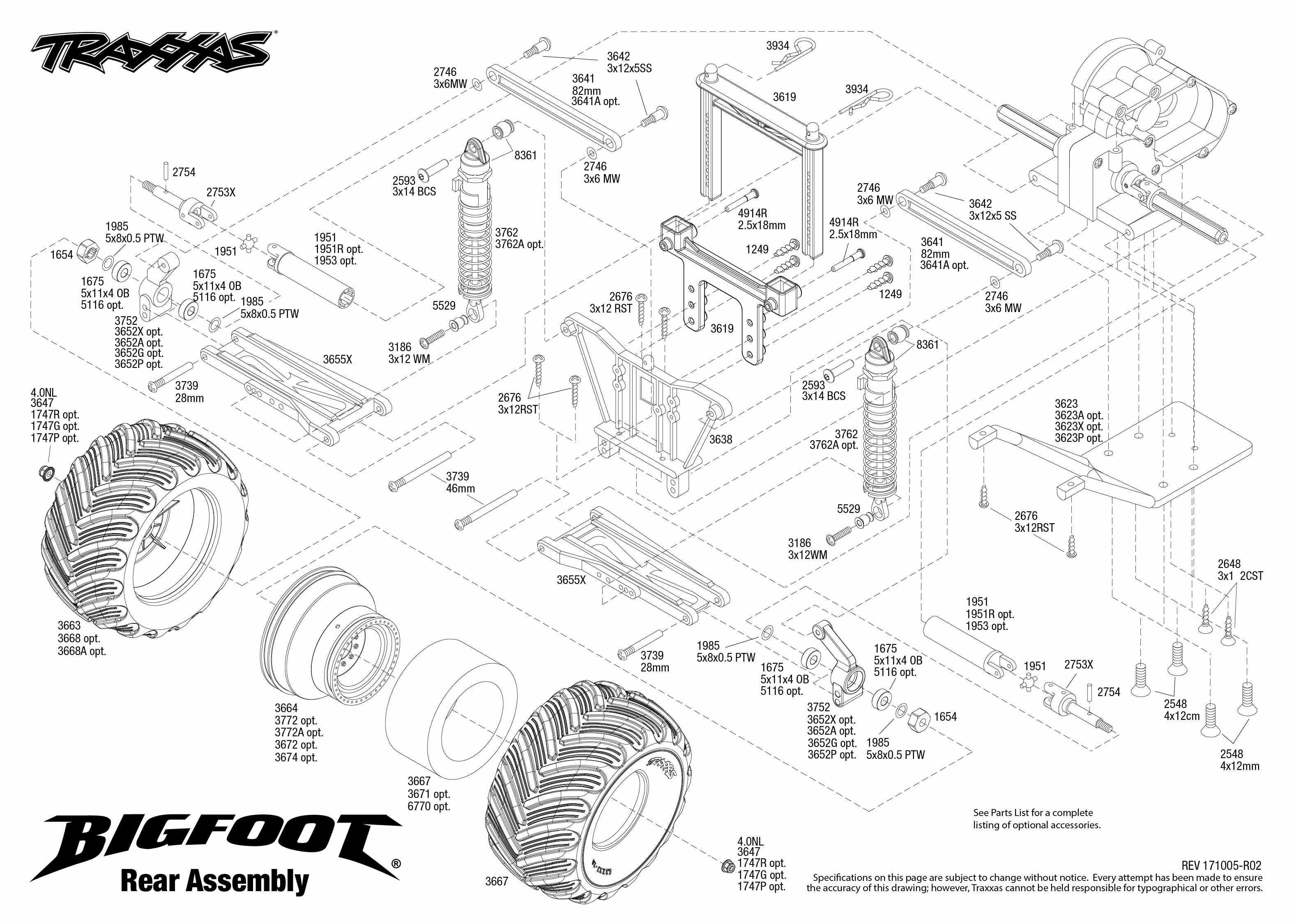 bigfoot 36084 1 rear assembly exploded view traxxas rh traxxas com traxxas jato parts diagram traxxas skully parts diagram
