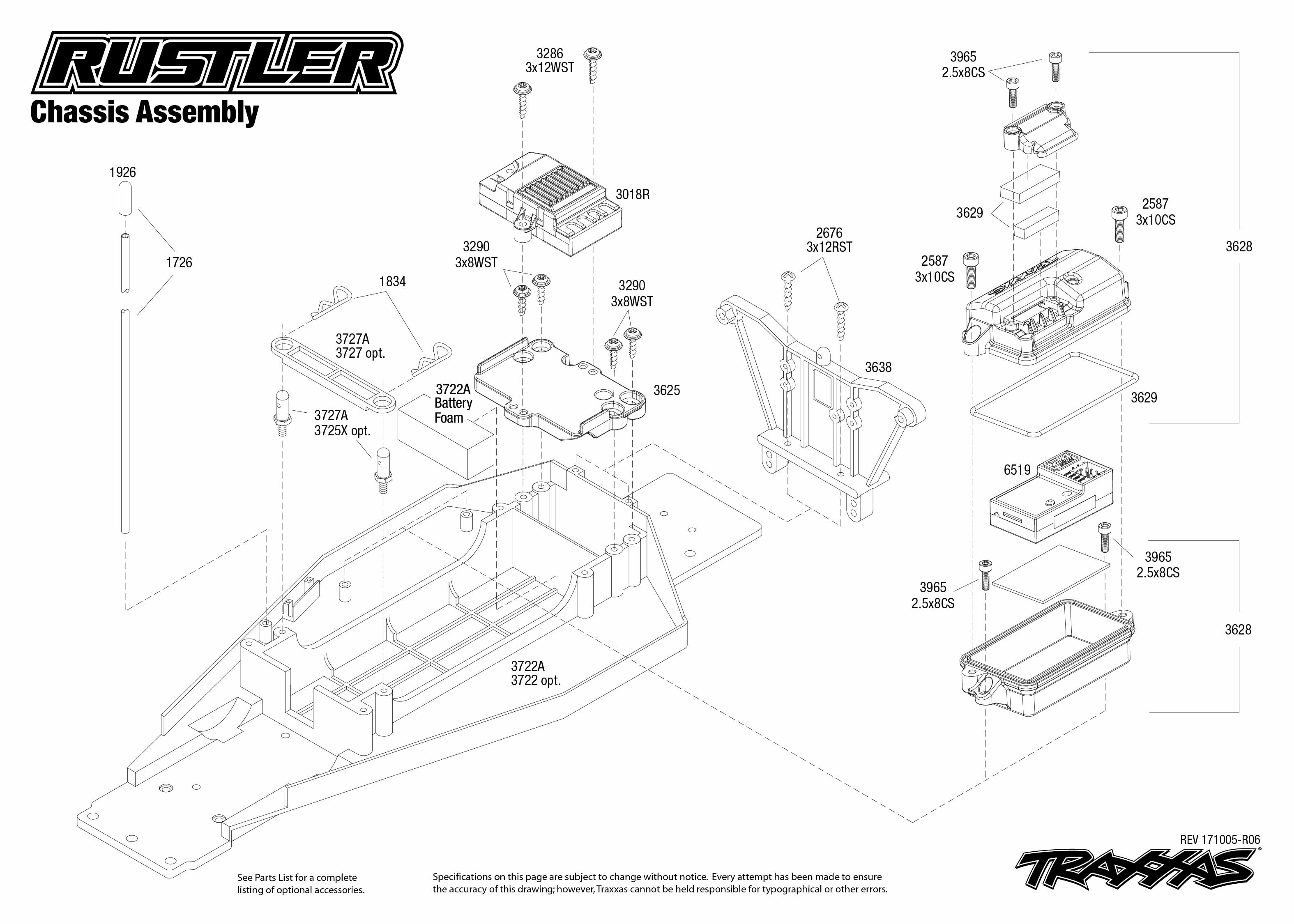 Traxxas Stampede Chassis Parts Diagram Wiring For Vxl Slash 4x4 Exploded View Rustler 37054 1 Assembly Rh Com Xl
