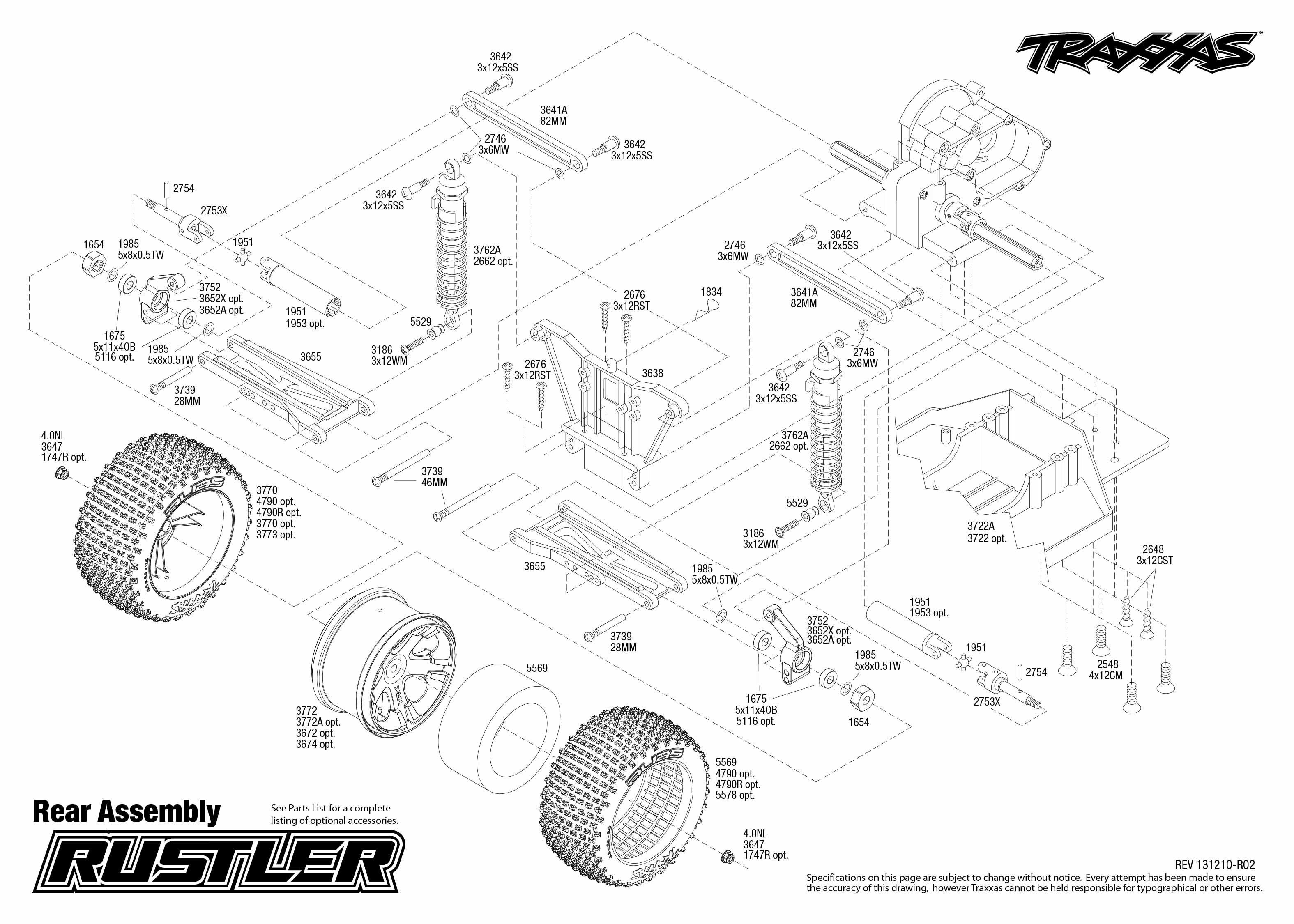 Traxxas Rustler Parts Diagram | Rustler 37054 Rear Assembly Traxxas