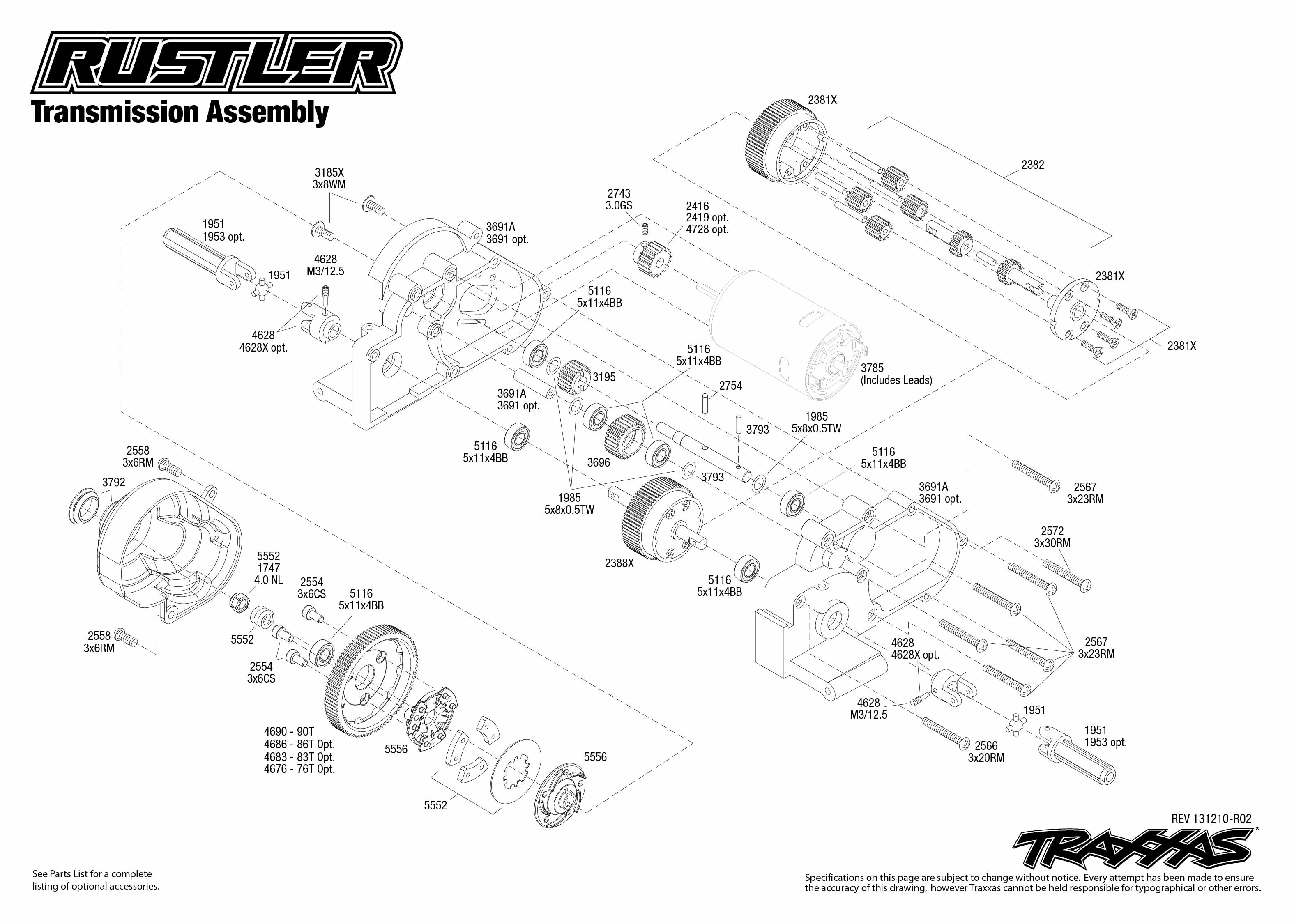 rustler 37054 transmission assembly traxxas : traxxas rustler diagram - findchart.co