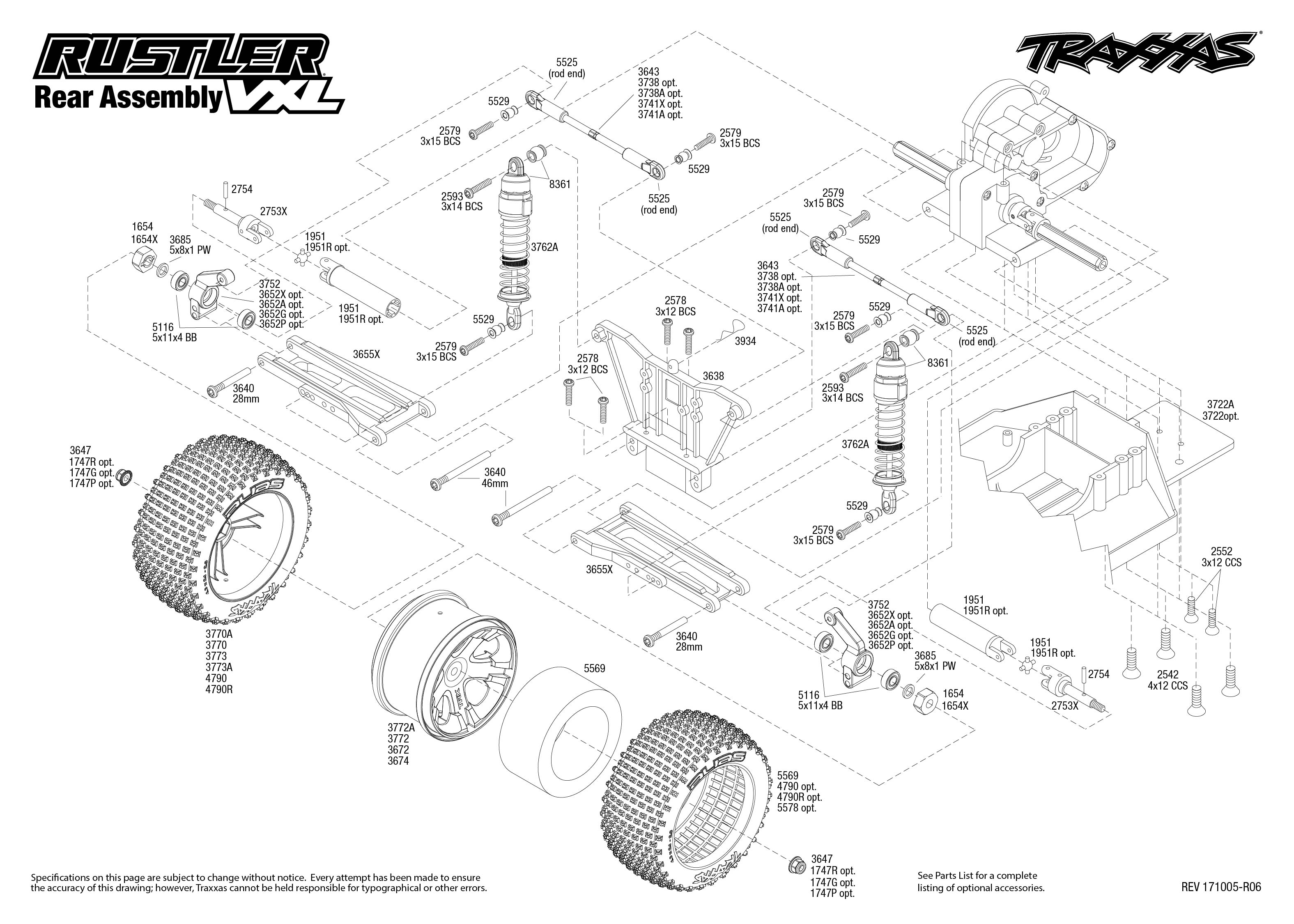 Rustler Vxl 37076 3 Rear Assembly Exploded View Traxxas