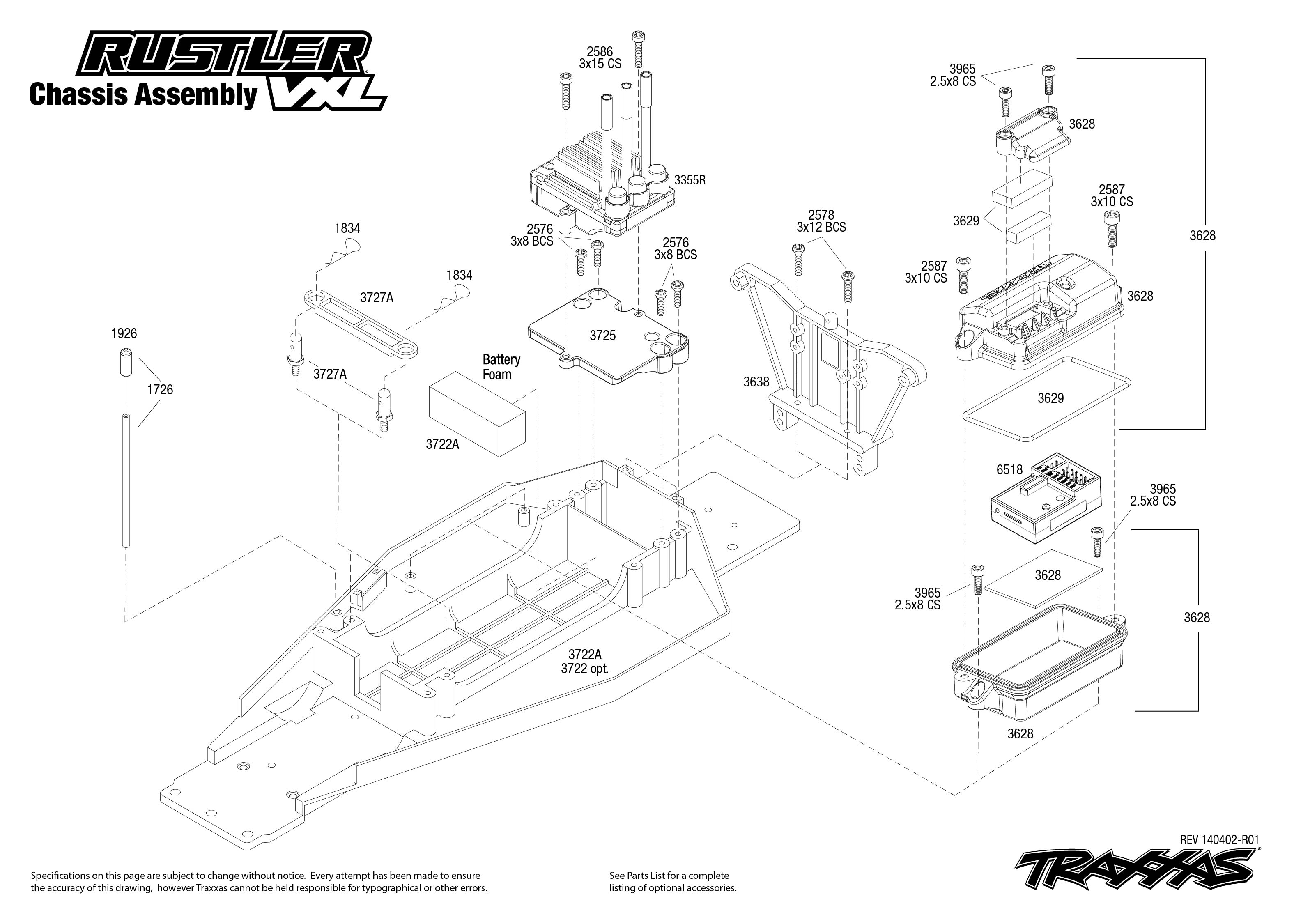 37076_Explodedviews 140402_37076 Chassis Assembly rustler vxl (37076) chassis assembly traxxas RC Wiring Diagrams at virtualis.co