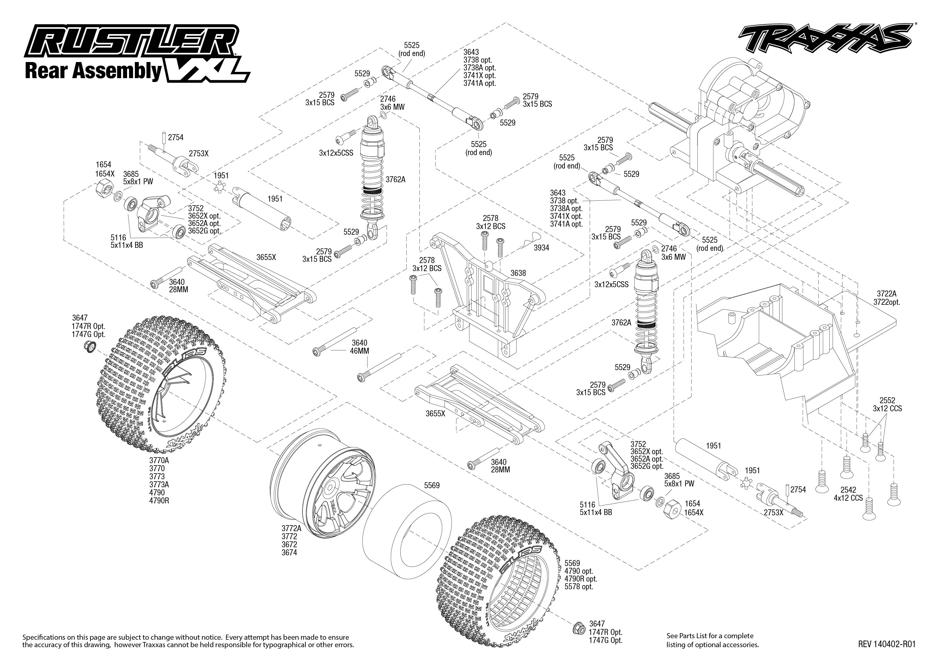 rustler vxl 37076 rear assembly traxxas : traxxas rustler diagram - findchart.co
