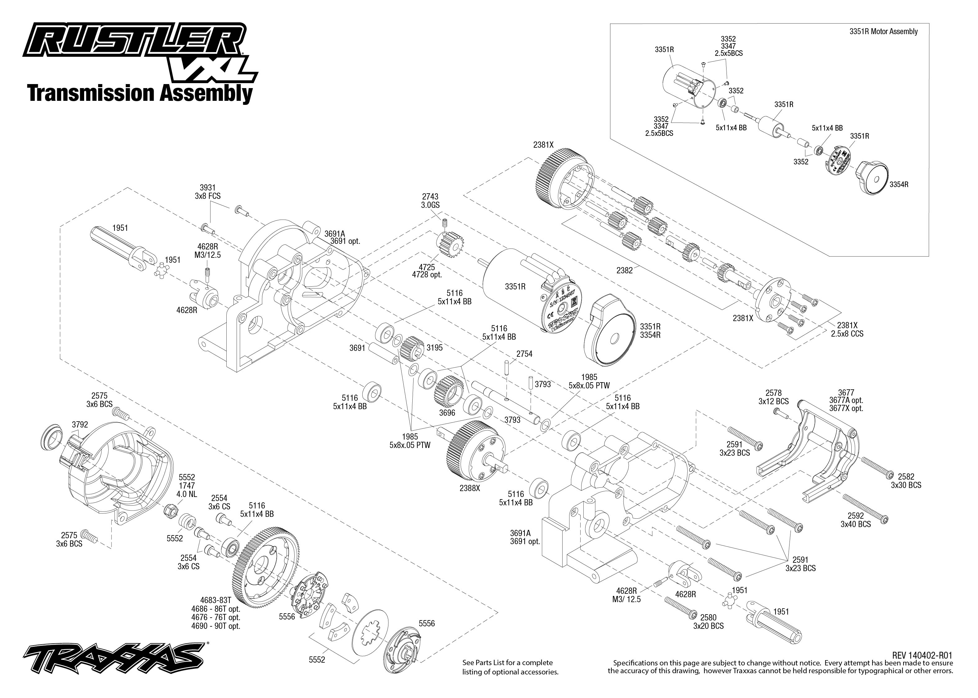 rustler vxl (37076) transmission assembly traxxas traxxas rustler parts list diagram use magnifier buttons to zoom exploded view click part numbers for details or to add to cart