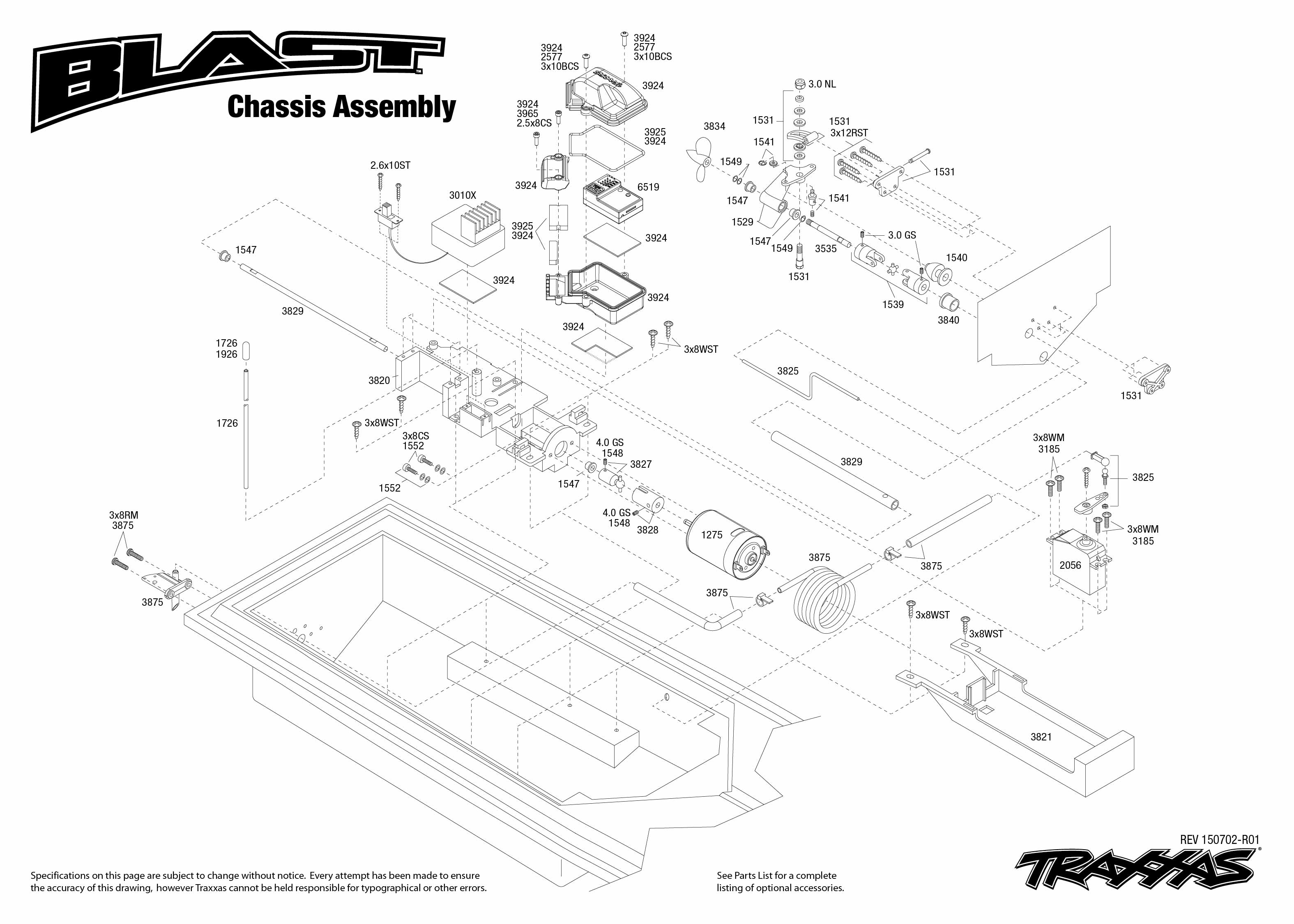 blast 38104 1 chassis assembly exploded view traxxas rh traxxas com traxxas bandit parts diagram traxxas skully parts diagram