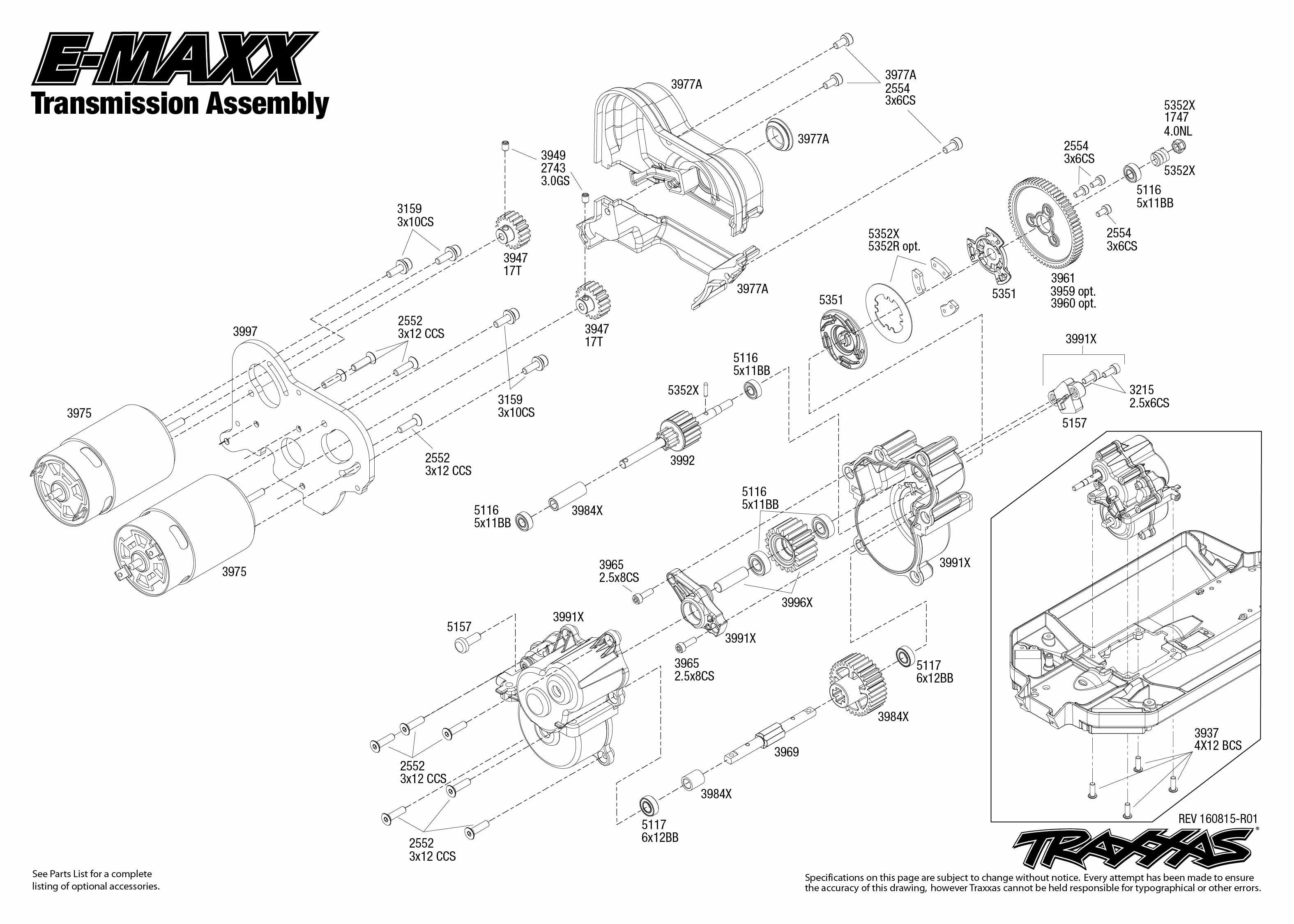 Traxxas 3906 Parts Diagram Air Filter Wiring Diagrams E Maxx 39036 1 Transmission Assembly Exploded View