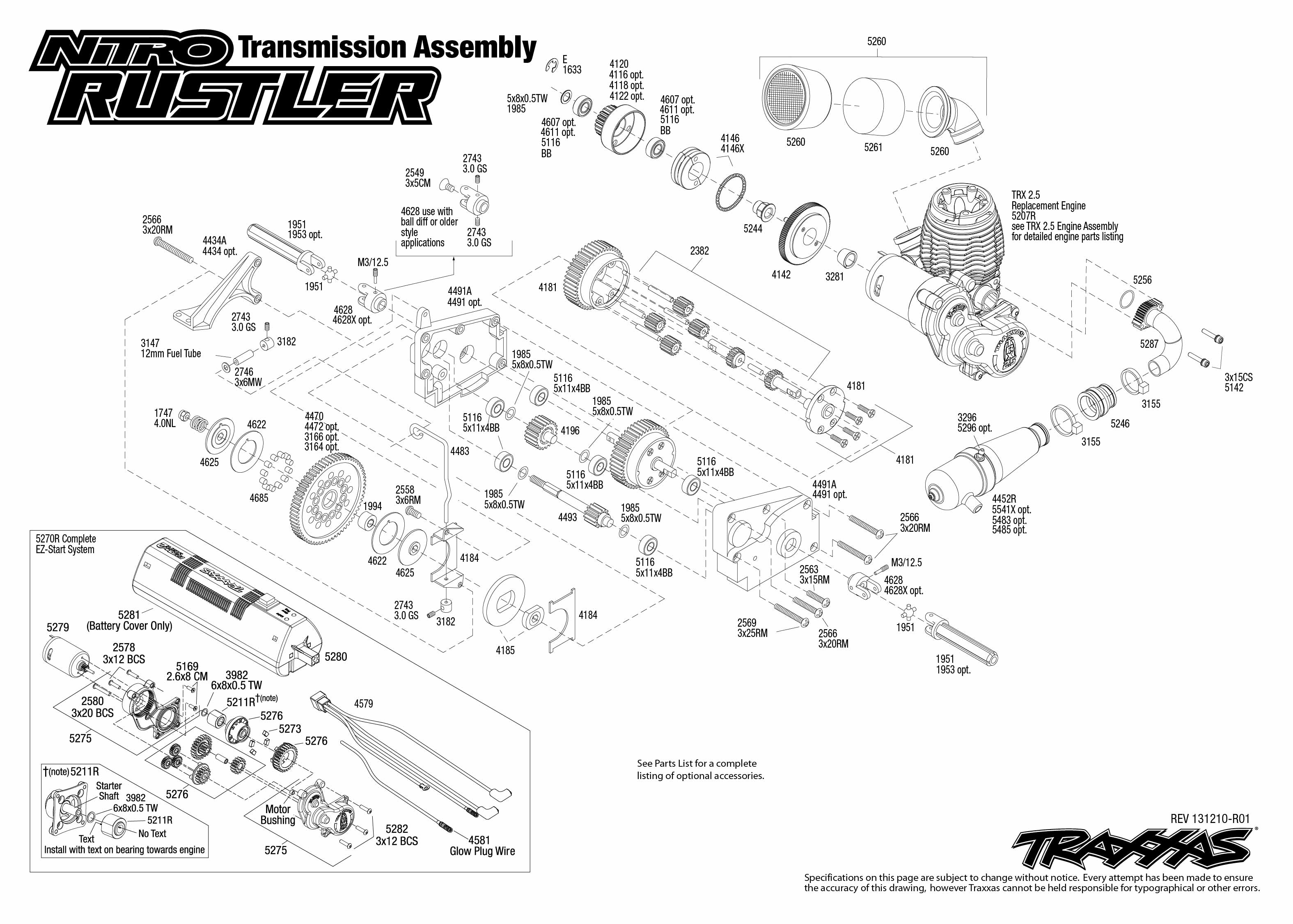 nitro rustler 44094 transmission assembly traxxas : traxxas rustler diagram - findchart.co