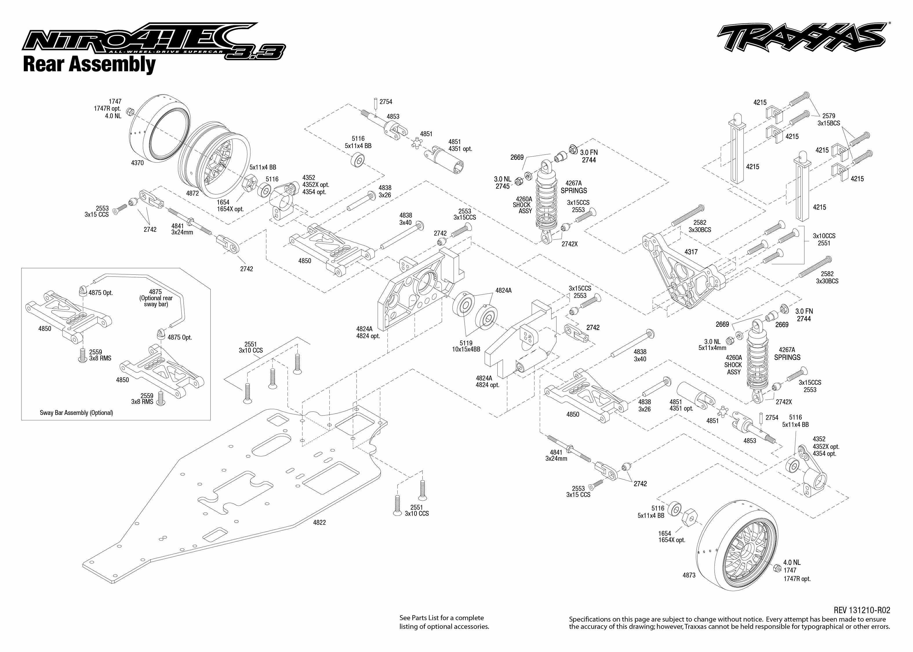 Traxxas Nitro Rustler Exploded Diagram Excellent Electrical Wiring Parts Traxxas44094nitrorustler 4807 4 Tec 3 Rear Assembly Rh Com View