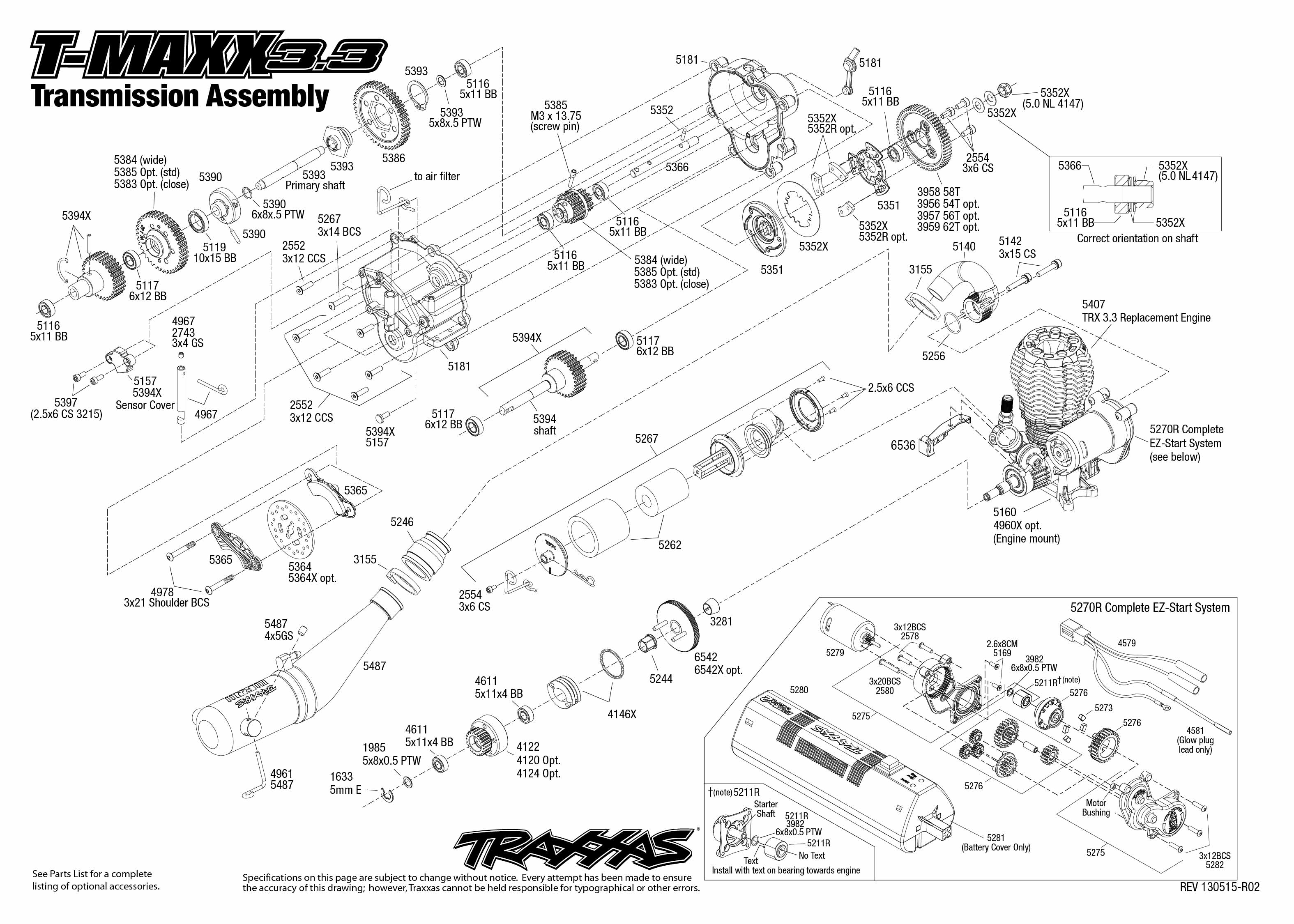 4907_Tmaxx33_TQi_explodedviews 130515_4907 Transmission Assembly 4907 transmission exploded view (t maxx 3 3) traxxas traxxas revo 3.3 wiring diagram at eliteediting.co