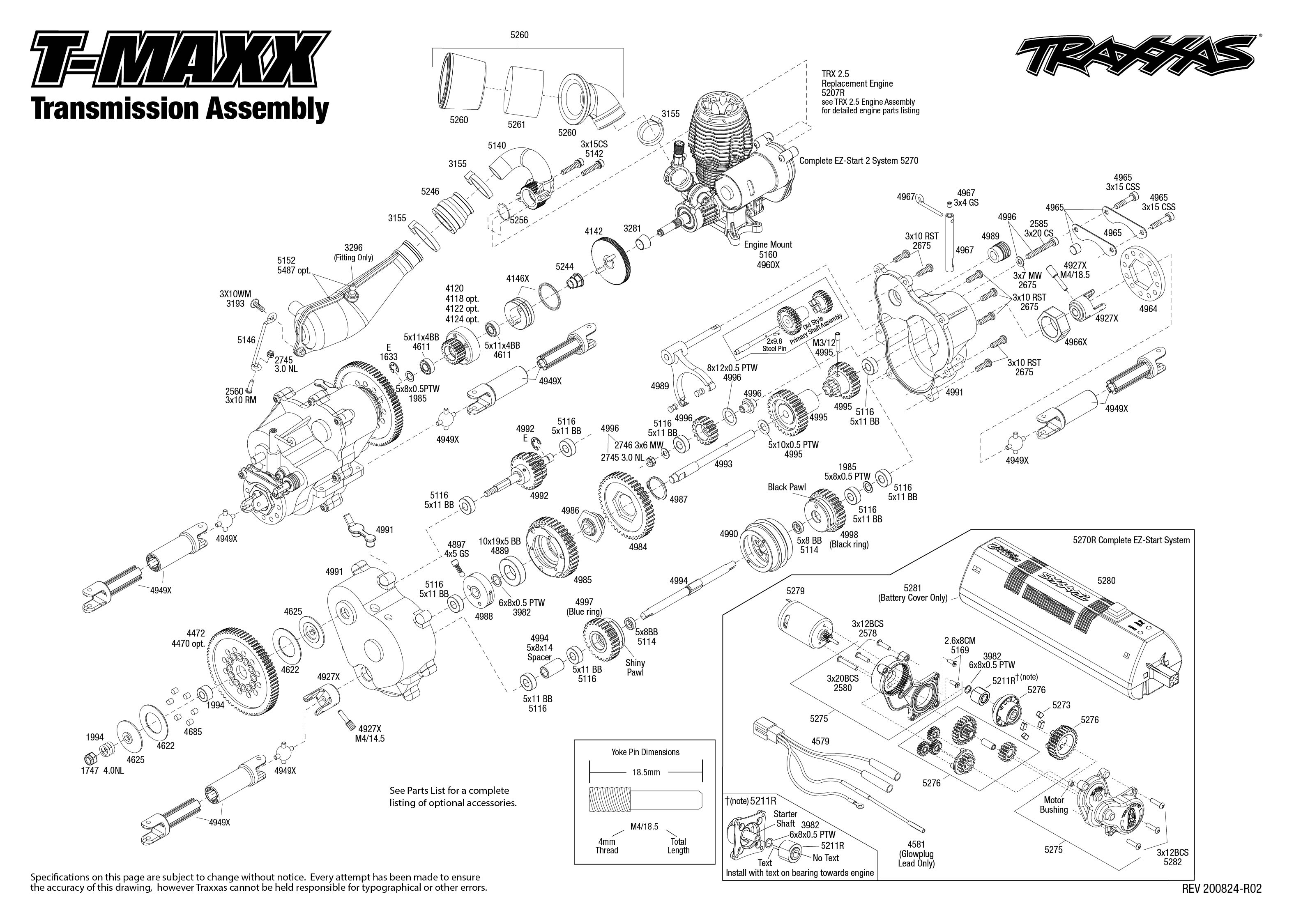 T Maxx 49104 1 Transmission Assembly Exploded View Traxxas