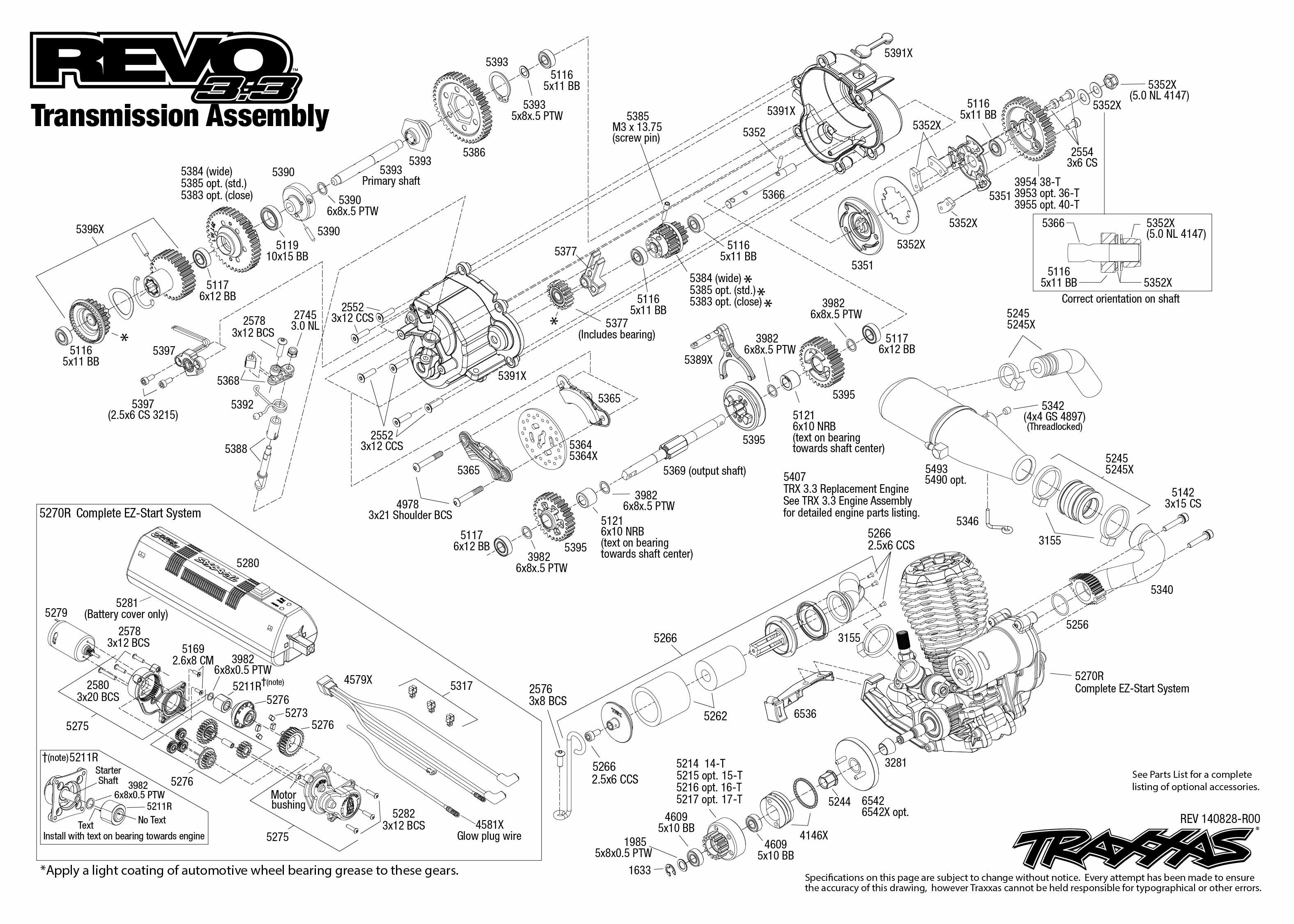 [SCHEMATICS_48EU]  Revo 3.3 (53097-1) Transmission Assembly Exploded View | Traxxas | Traxxas 2 5 Engine Diagram |  | Traxxas