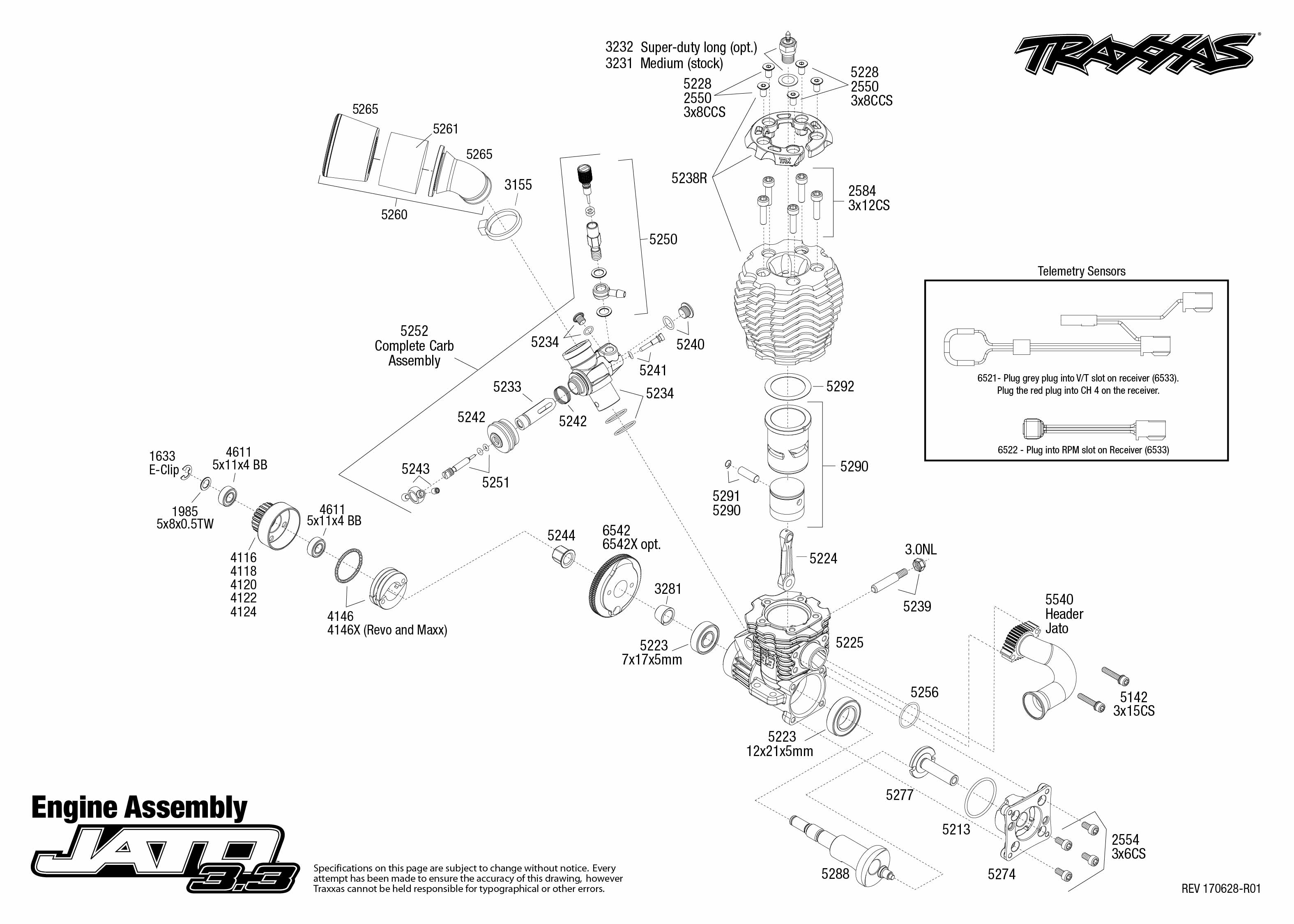 toyota 15 engine diagram jato 3.3 (55077-3) engine assembly exploded view | traxxas