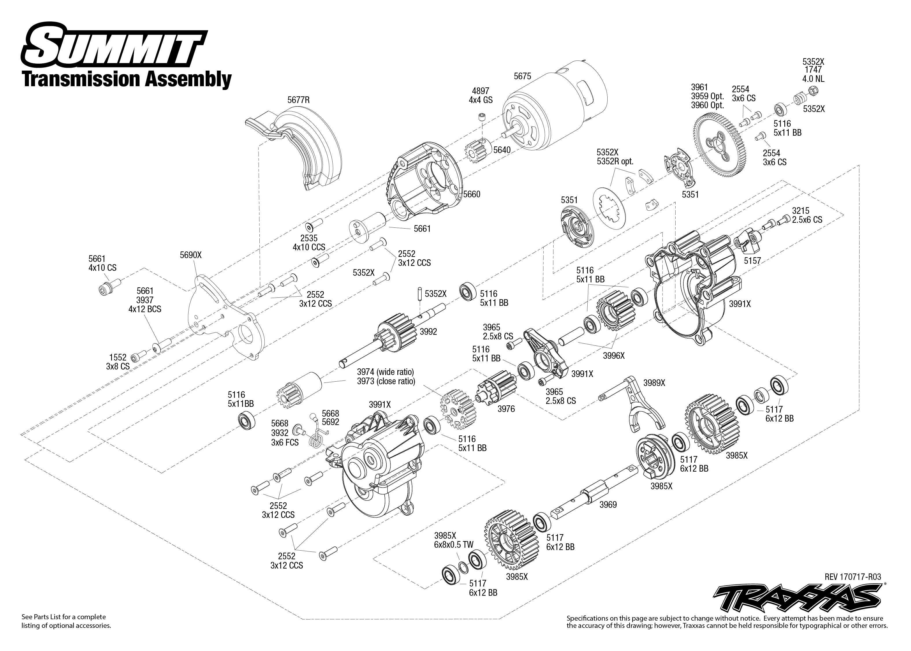 Summit 56076 1 Transmission Assembly Exploded View Traxxas