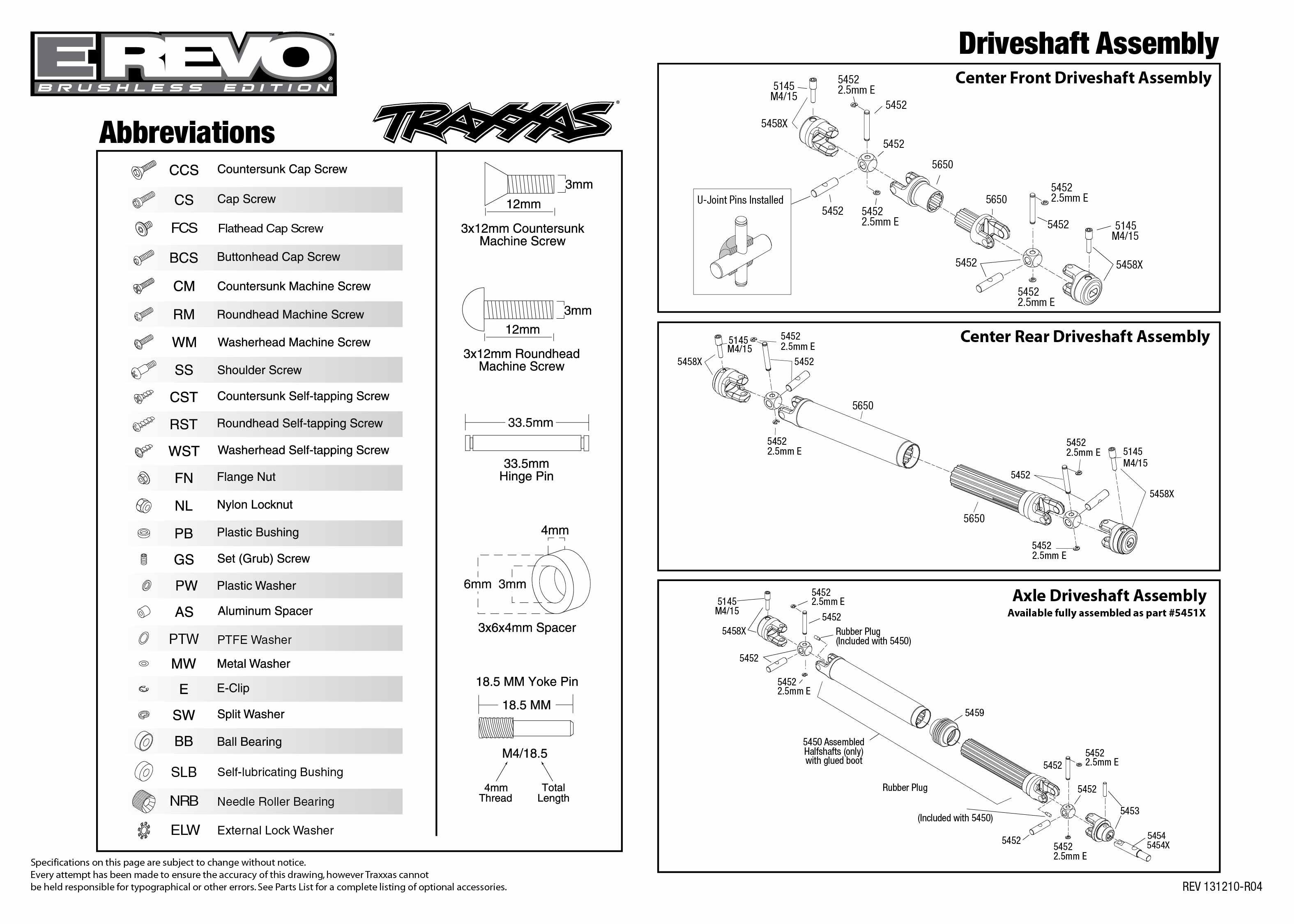 5608 Driveshafts Exploded View (E-Revo Brushless, w/ TQi 2.4GHz ...