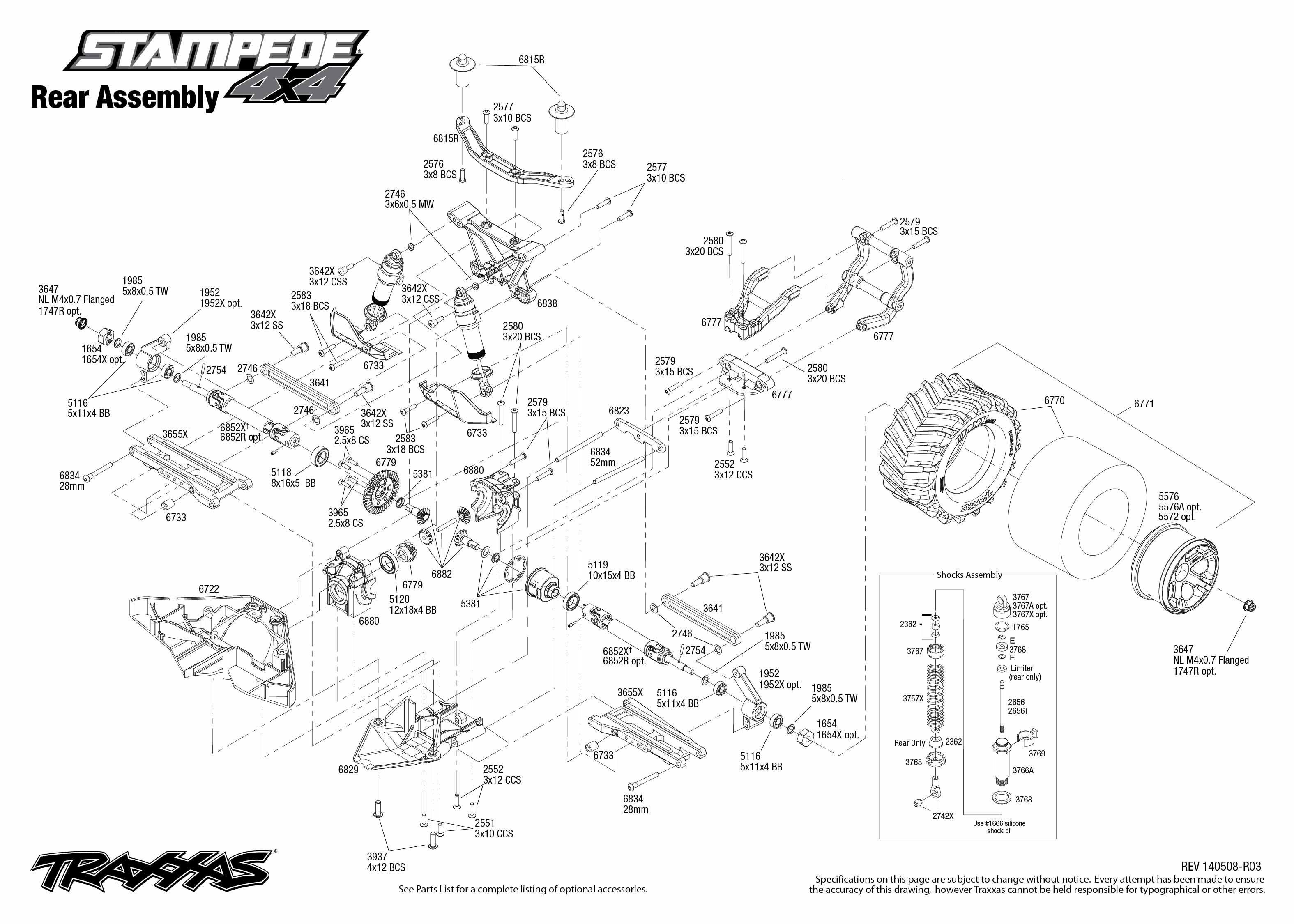 stampede 4x4  67054  rear assembly