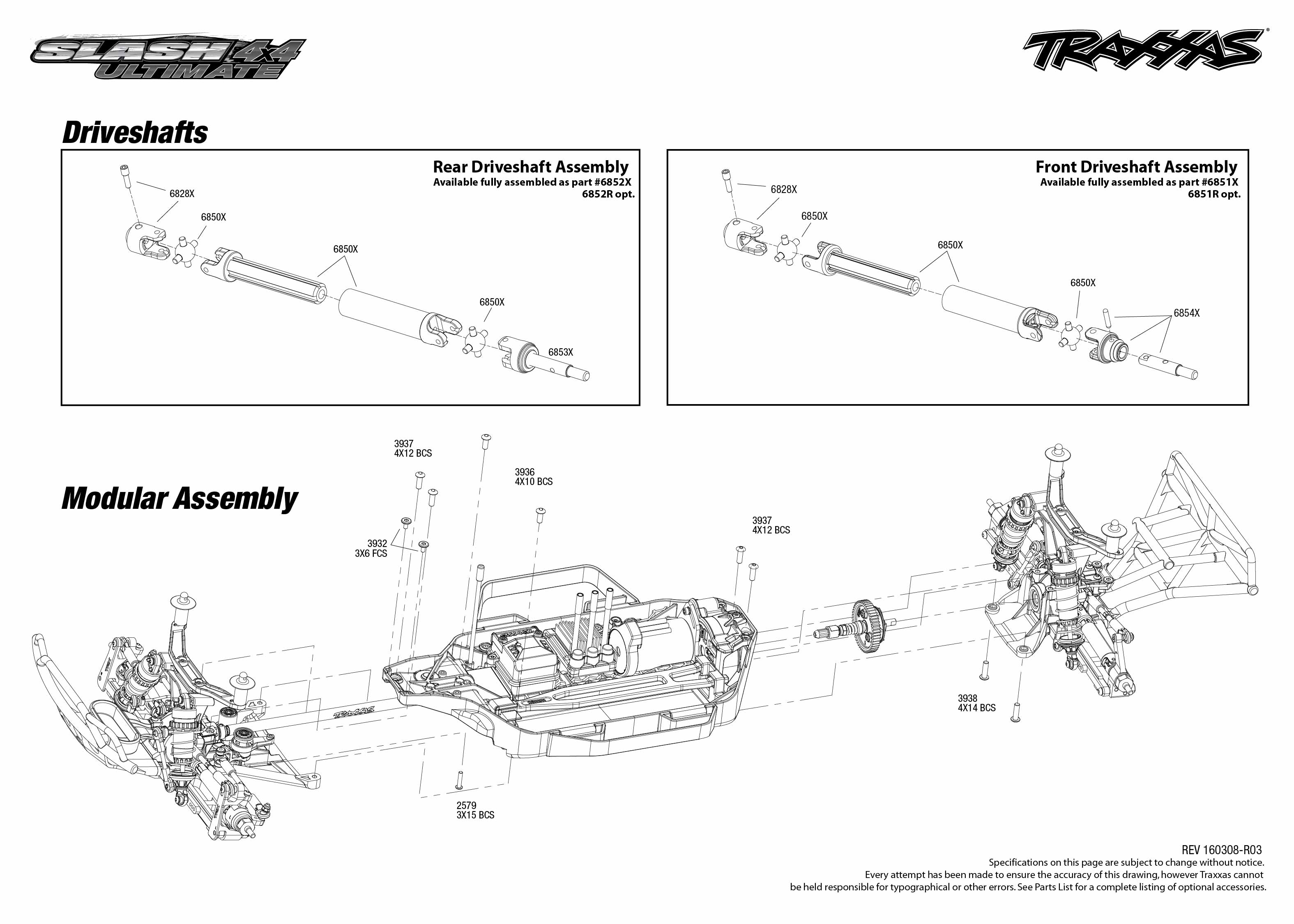 Slash 4X4 Ultimate (68077-1) Driveshafts Assembly Exploded View ...