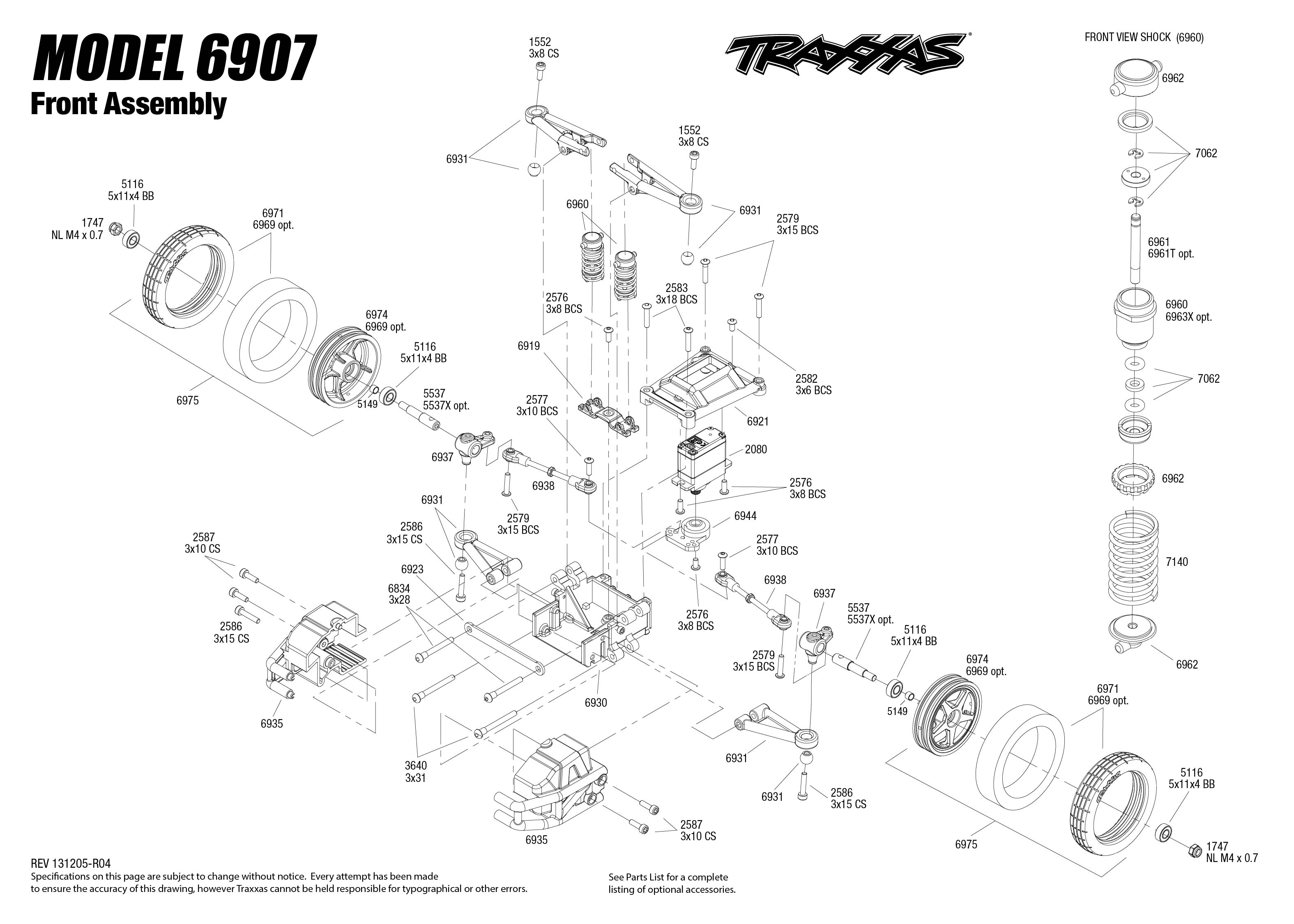 6907 Front Exploded Views (Funny Car) | Traxxas