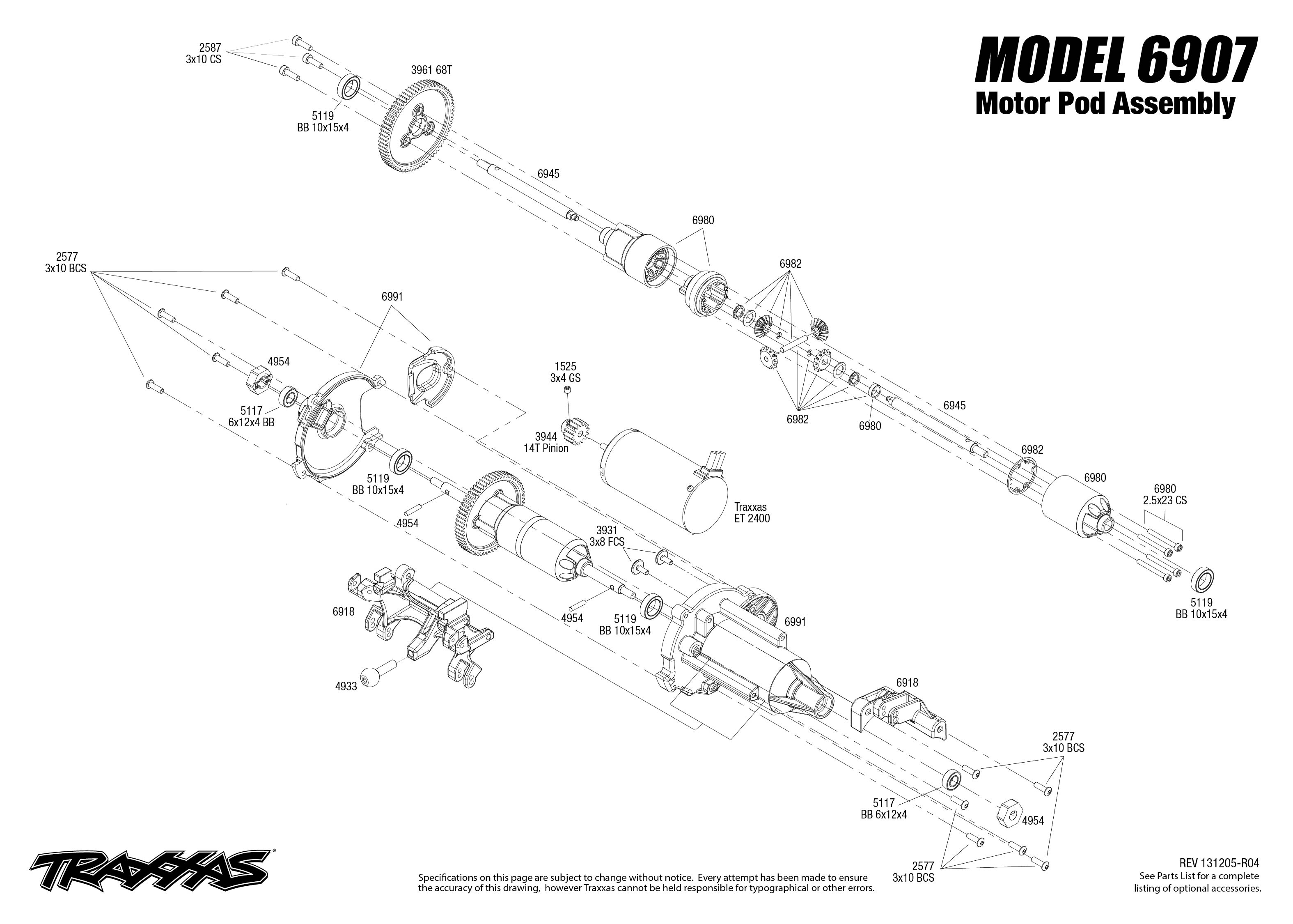 6907 Motor Pod Exploded View Funny Car