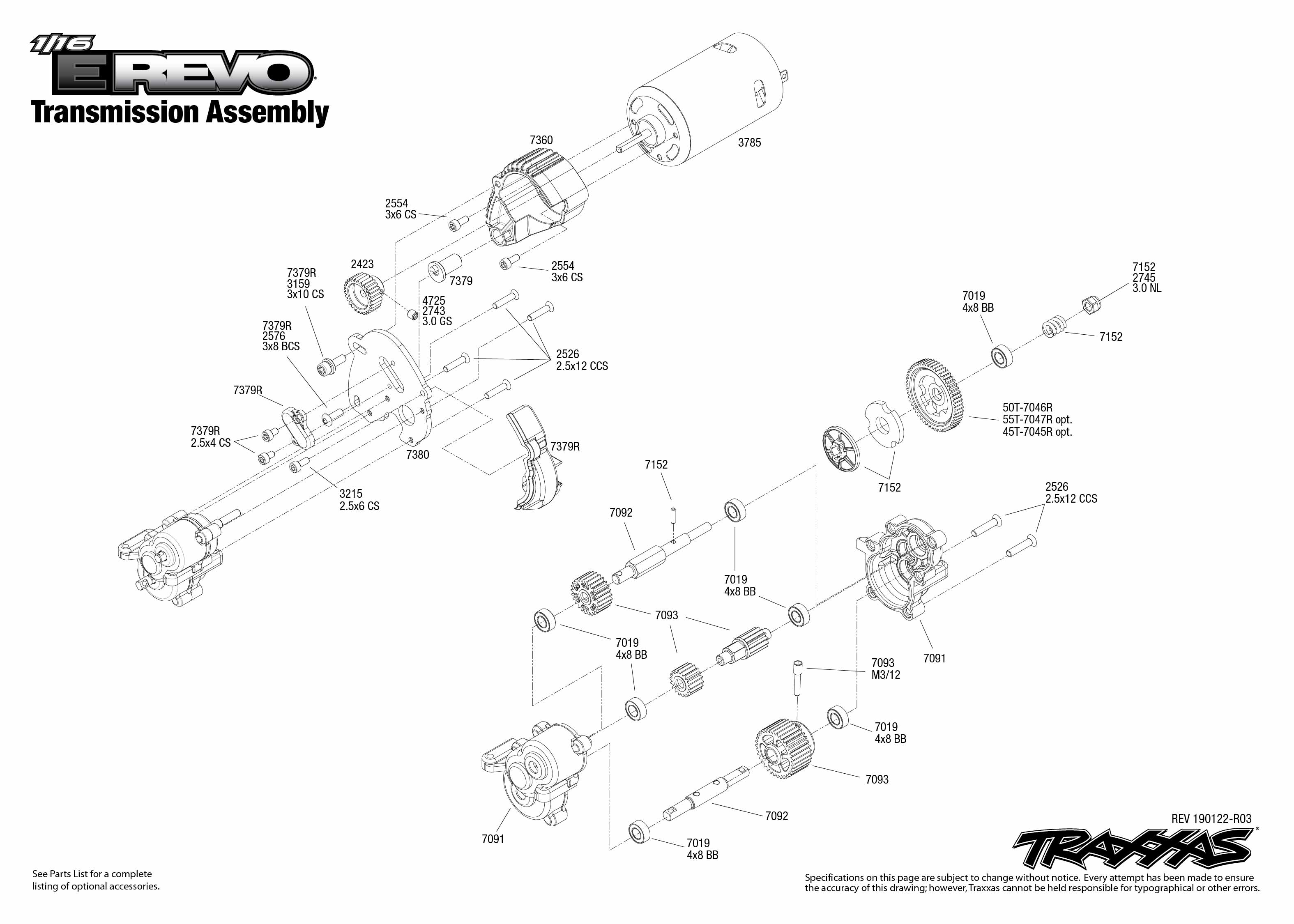1 16 e revo (71054 1) transmission assembly exploded view traxxas Mamba Powered Traxxas Revo Parts Diagram enter your email address to subscribe