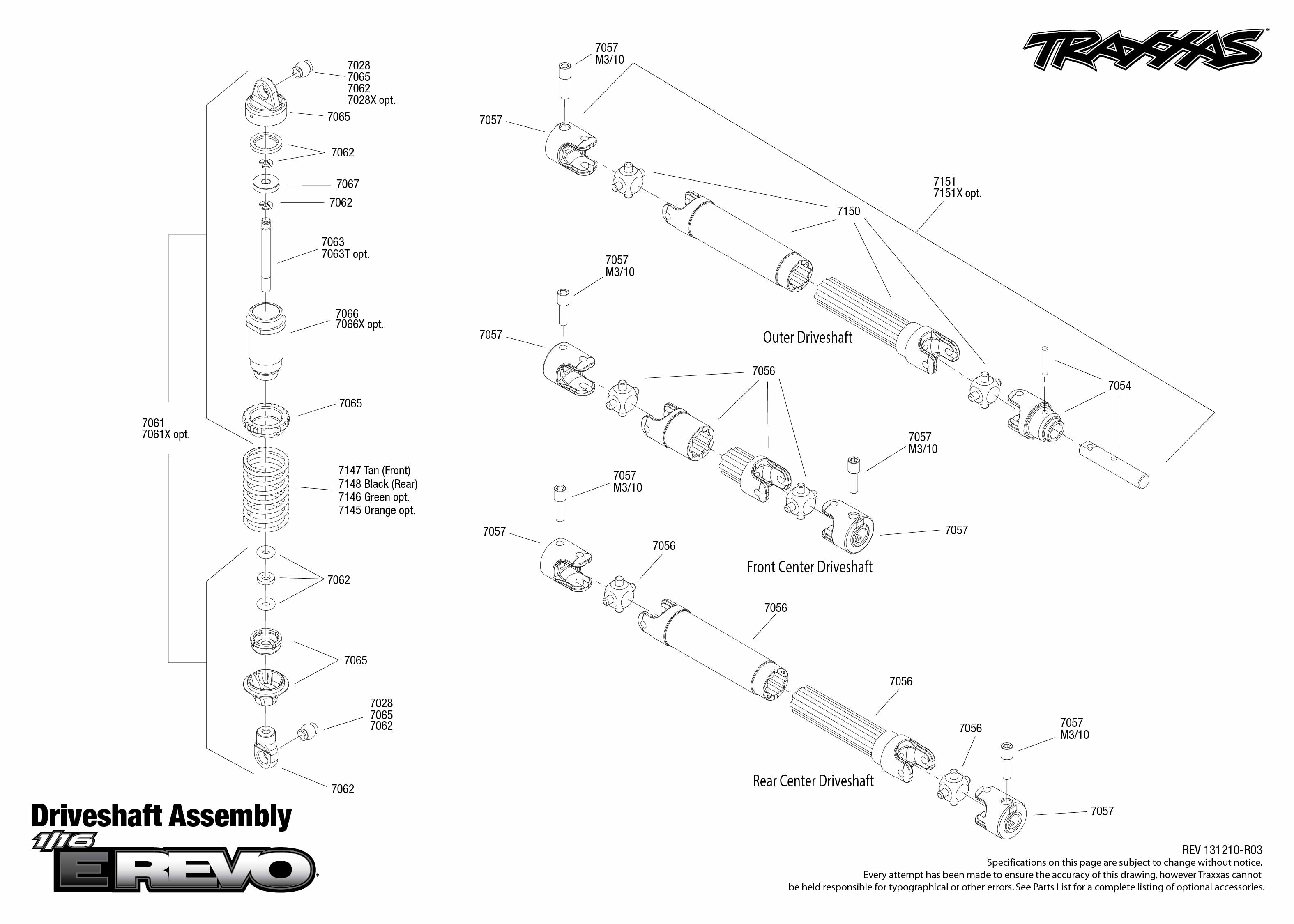 71054 Driveshafts Assembly on traxxas 1 16 e revo parts diagram