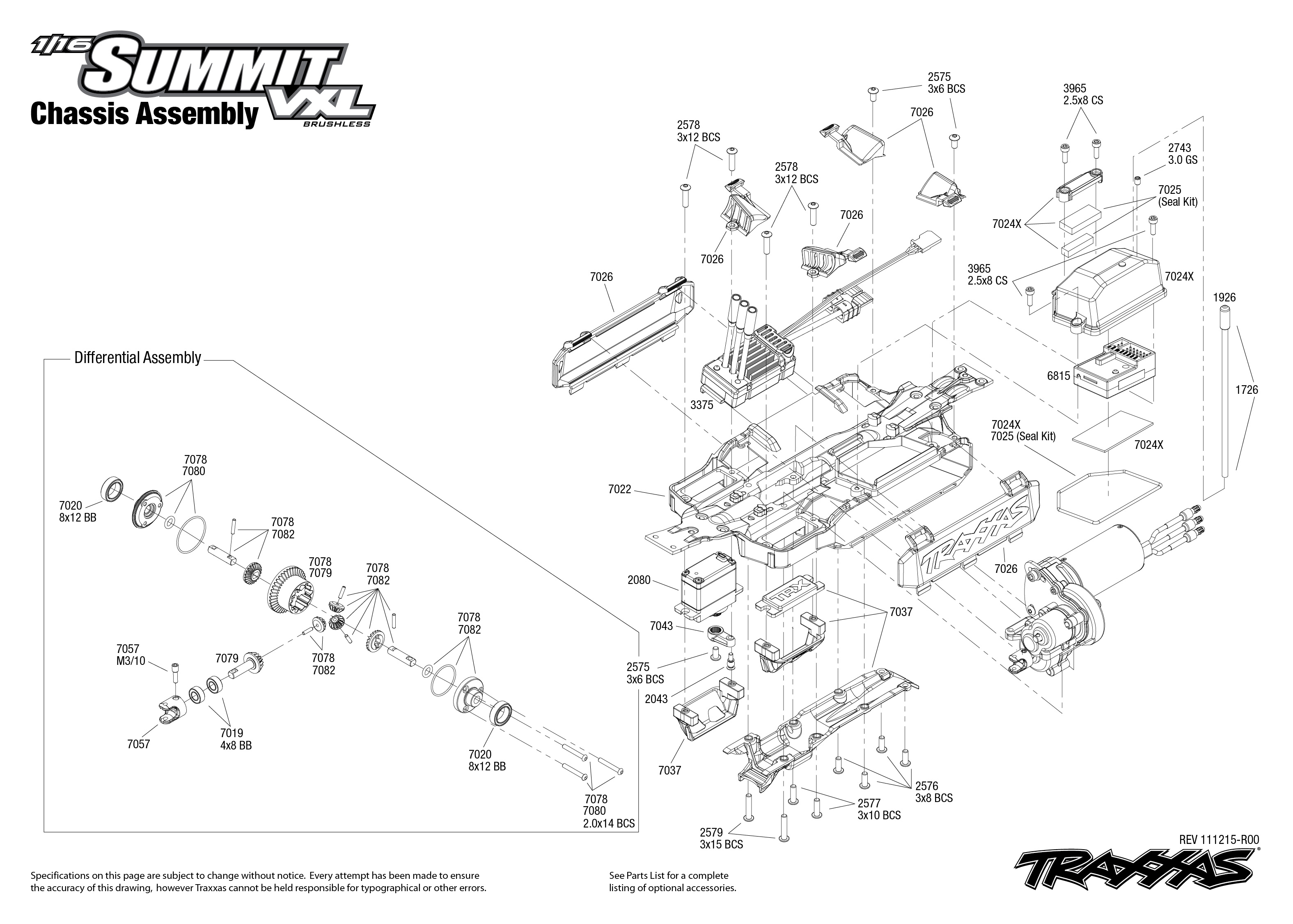 7207 Chassis Exploded View 1 16 Summit With Tqi 2 4ghz