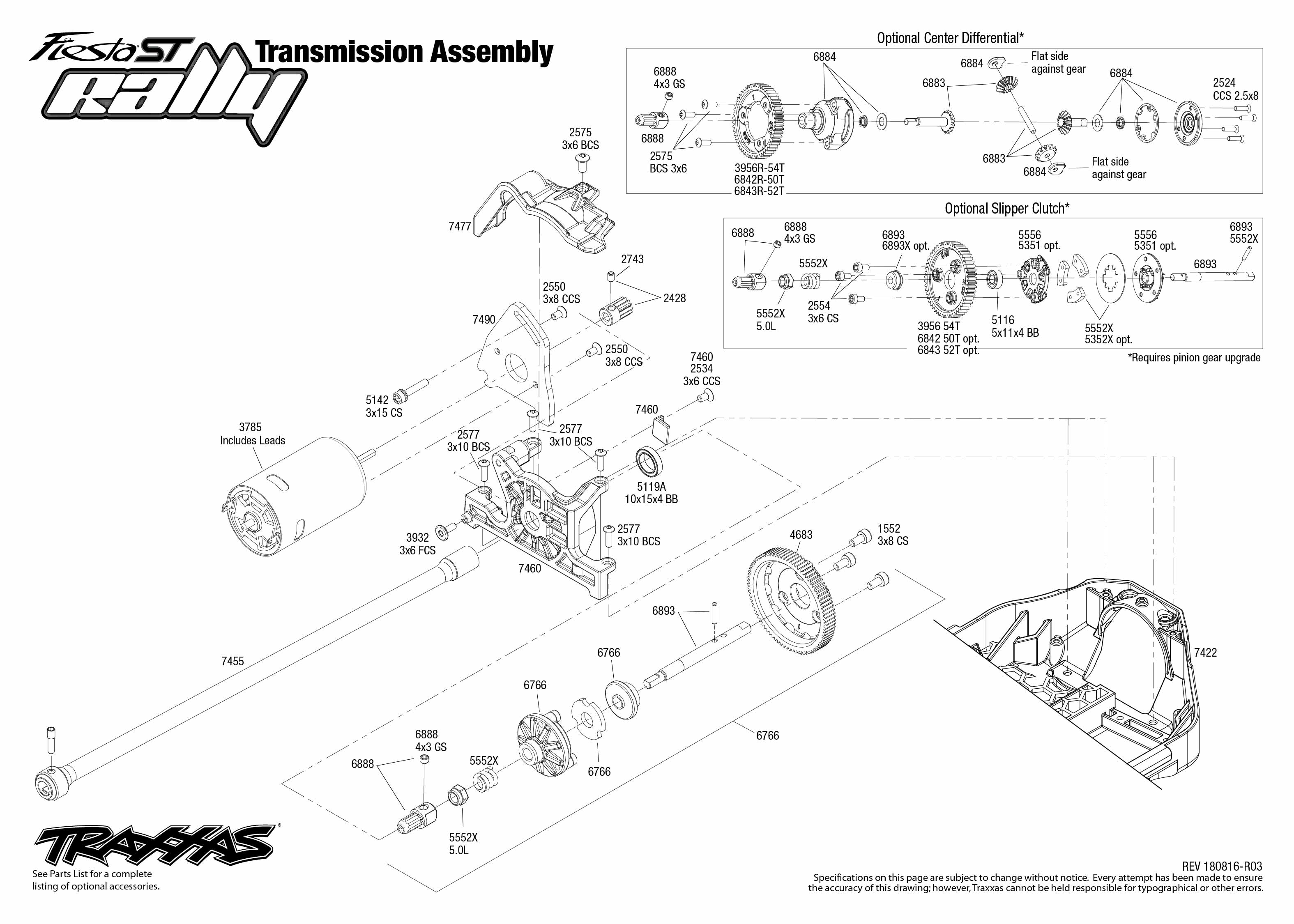 Ford Fiesta ST Rally (74054-6) Transmission Assembly Exploded View
