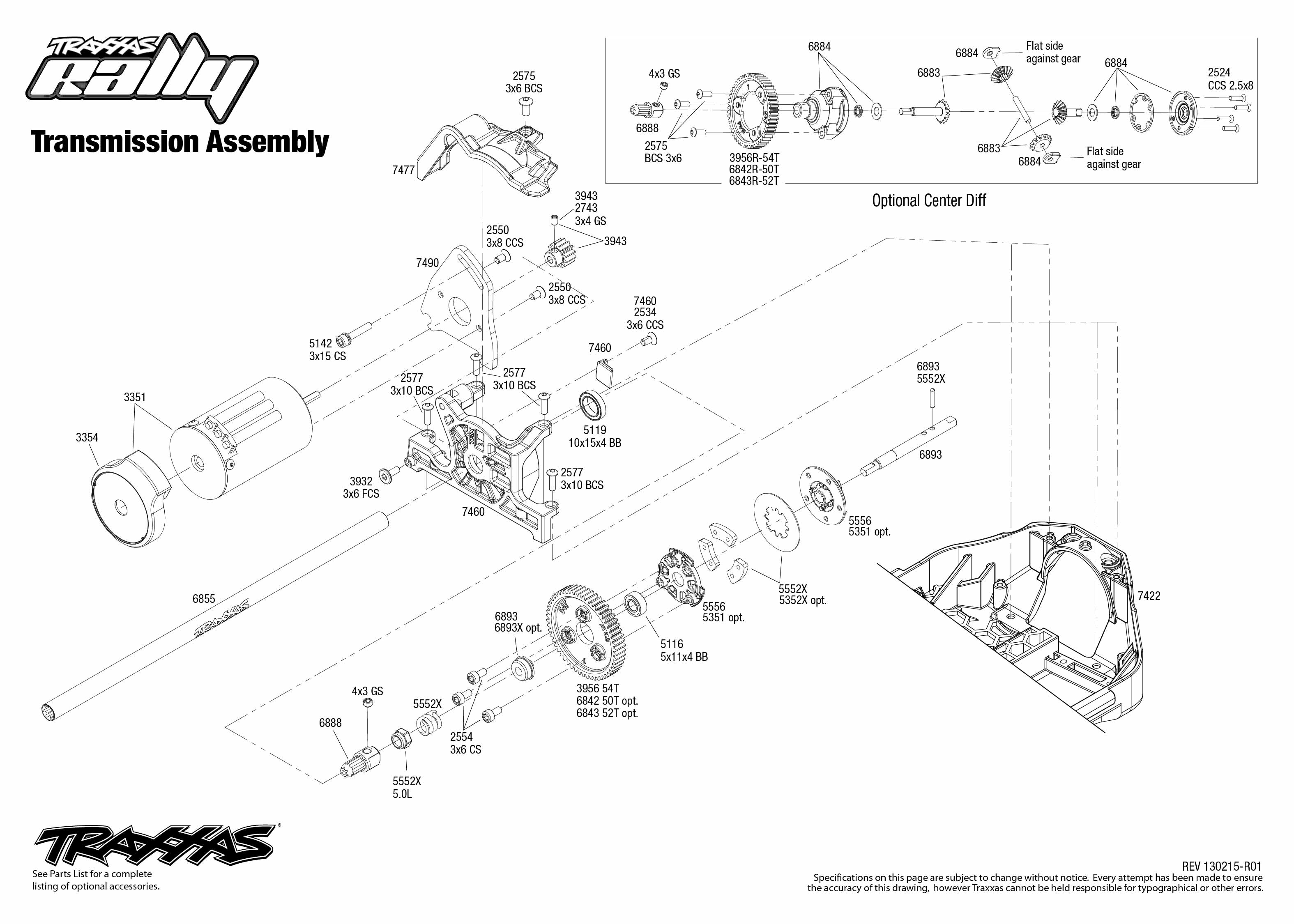7407 Transmission Exploded View Rally Traxxas
