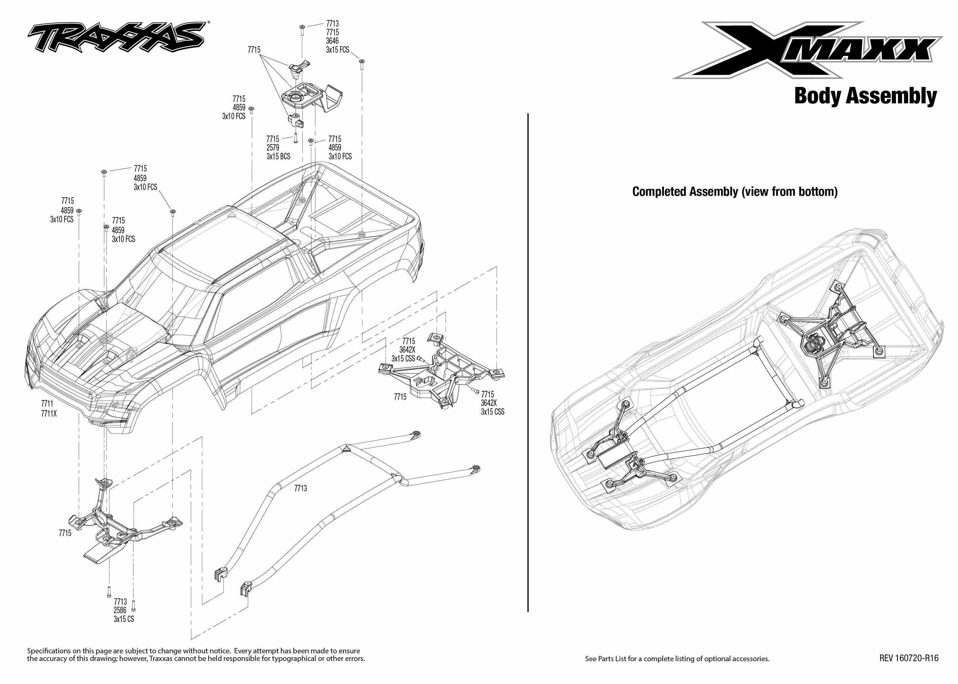 X-Maxx (77076-4) Body Assembly Exploded View | Traxxas