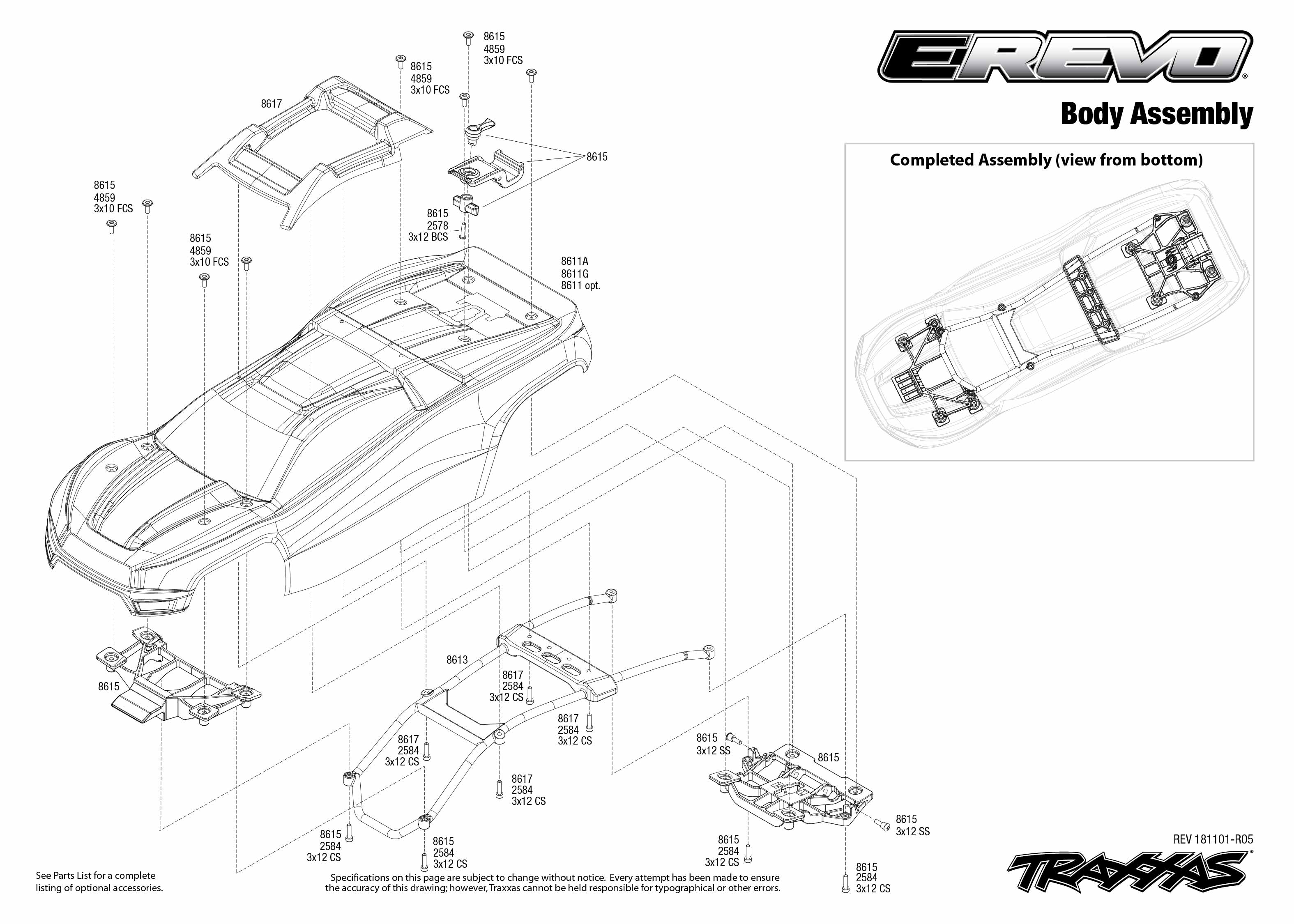 E Revo Vxl Brushless 86086 4 Body Assembly Exploded View Traxxas Schematic Use Magnifier Buttons To Zoom Click Part Numbers For Details Or Add Cart