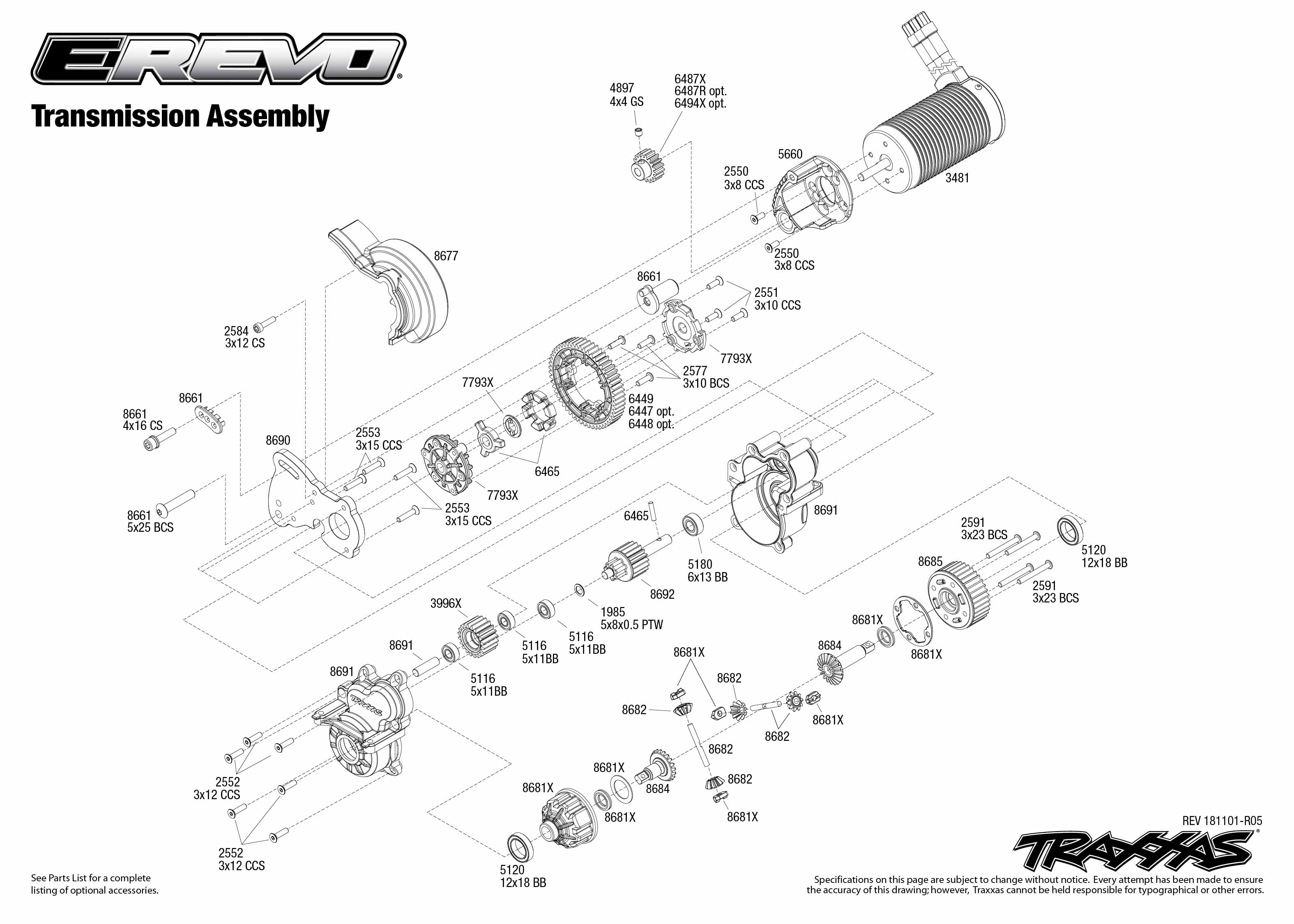 Traxxas Revo Wire Diagram 25 Wiring Images Jada Rc Car 86086 4 E Brushless Waterproof Exploded Views 181101 Transmission Assembly Parts