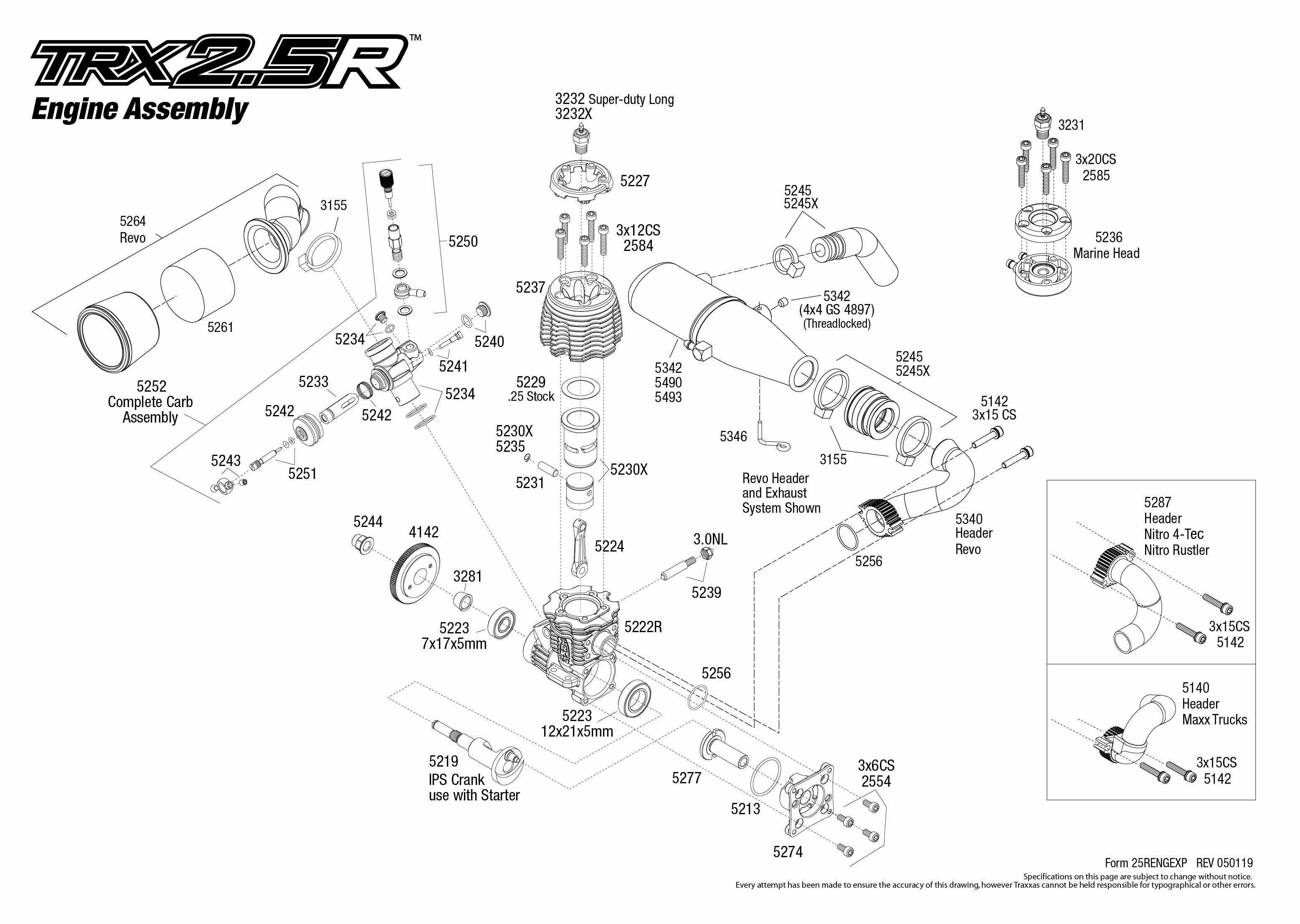 trx 2 5r  5207r  engine assembly