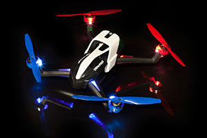 Aton Quadcopter with Red and Blue Propellers