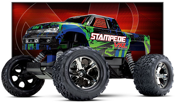 Stampede VXL (#36076-4) Front Three-Quarter View (Green)