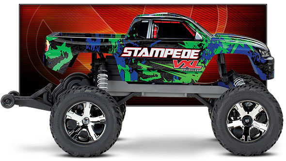 Stampede VXL (#36076-4) Side View (Green)